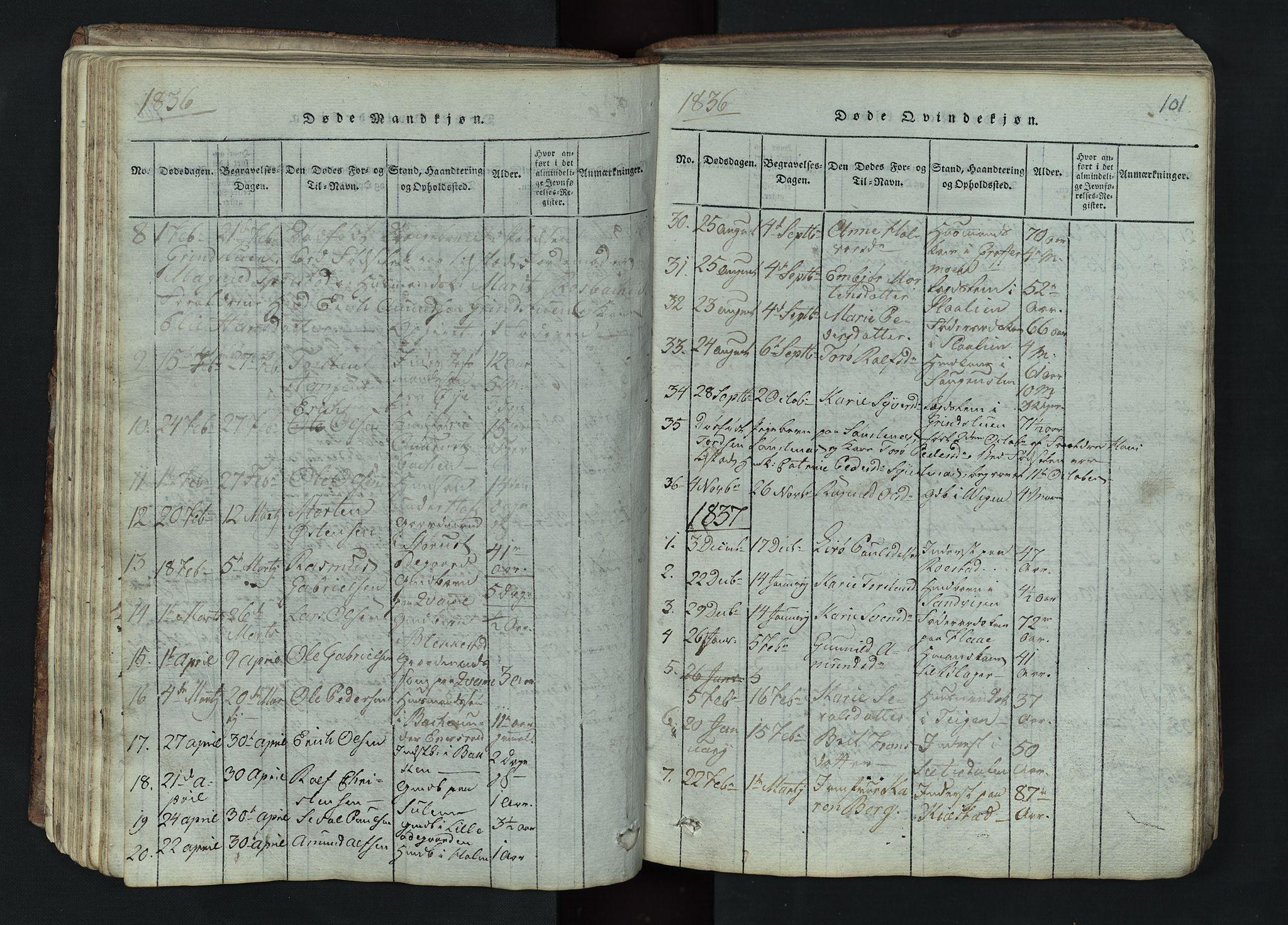 SAH, Lom prestekontor, L/L0002: Klokkerbok nr. 2, 1815-1844, s. 101