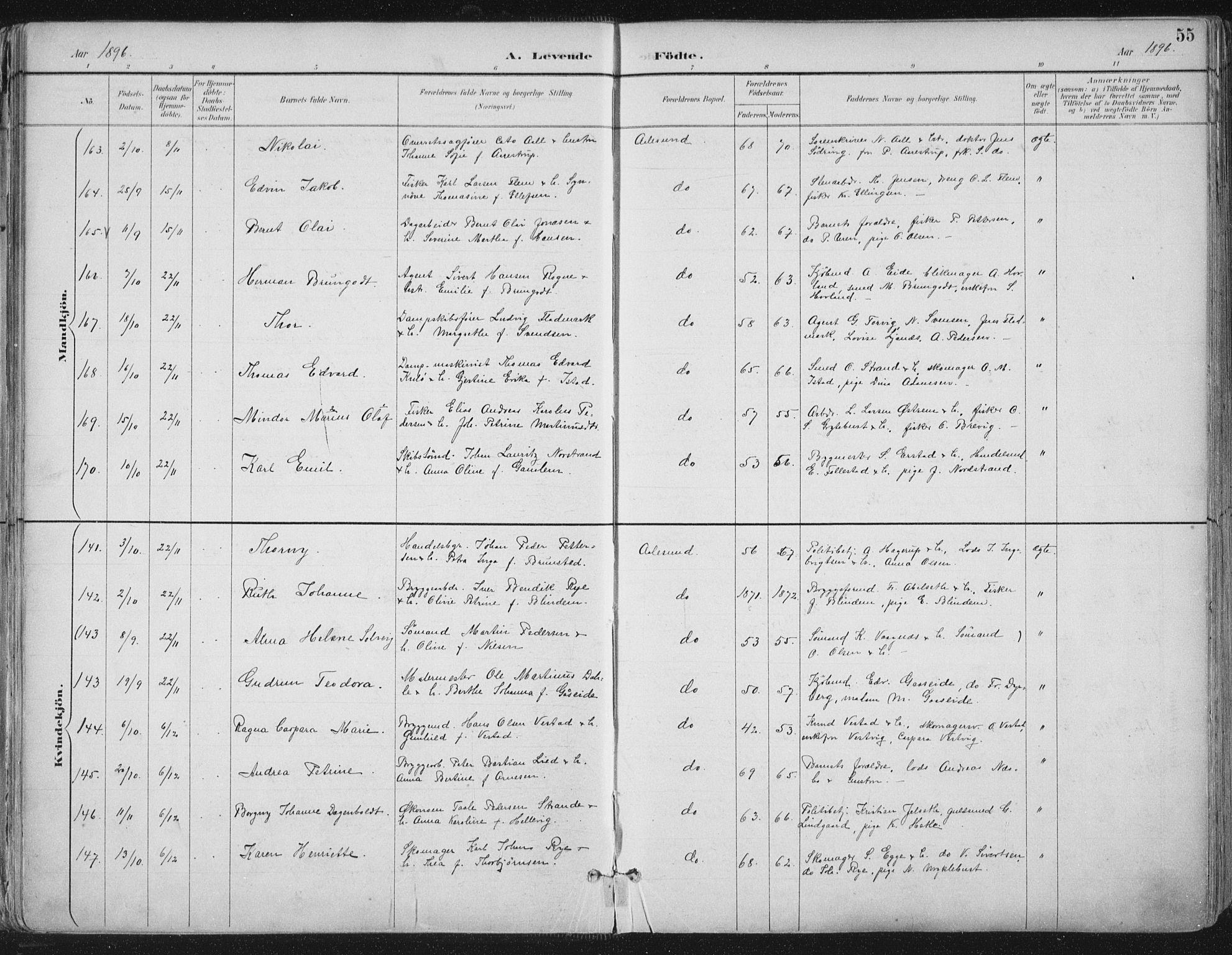 SAT, Ministerialprotokoller, klokkerbøker og fødselsregistre - Møre og Romsdal, 529/L0456: Ministerialbok nr. 529A06, 1894-1906, s. 55