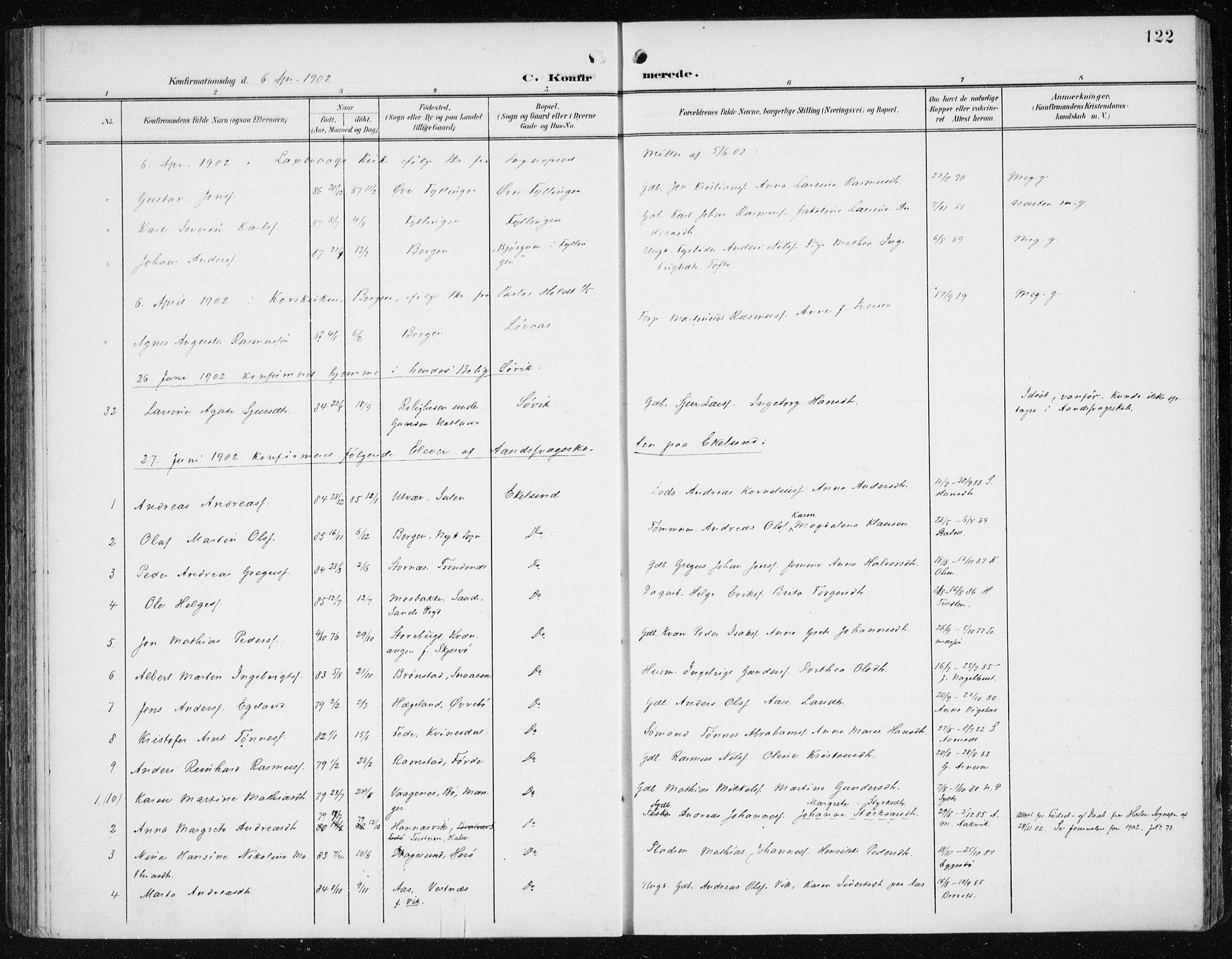 SAB, Fana Sokneprestembete, H/Haa/Haai/L0003: Ministerialbok nr. I 3, 1900-1912, s. 122