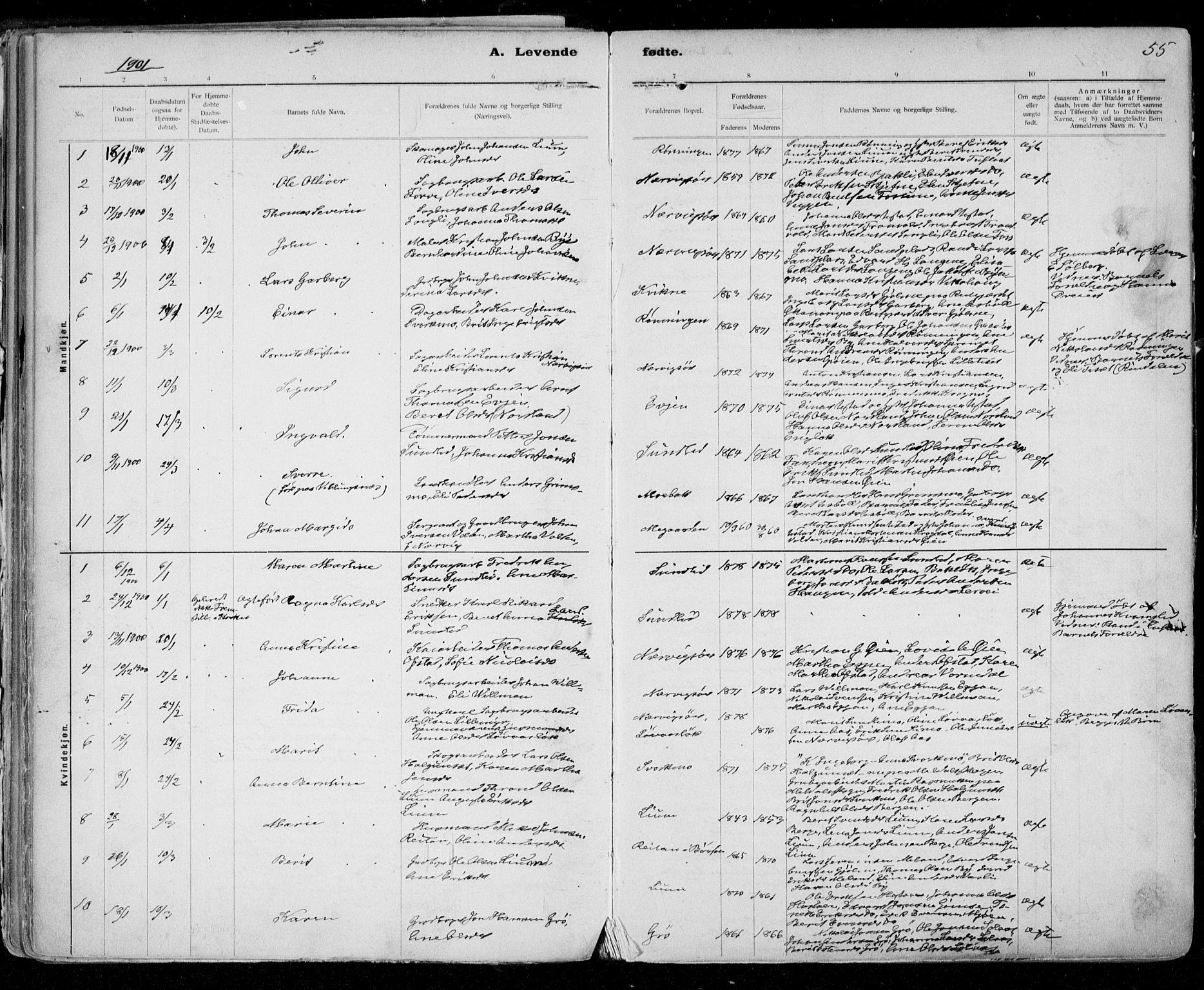 SAT, Ministerialprotokoller, klokkerbøker og fødselsregistre - Sør-Trøndelag, 668/L0811: Ministerialbok nr. 668A11, 1894-1913, s. 55