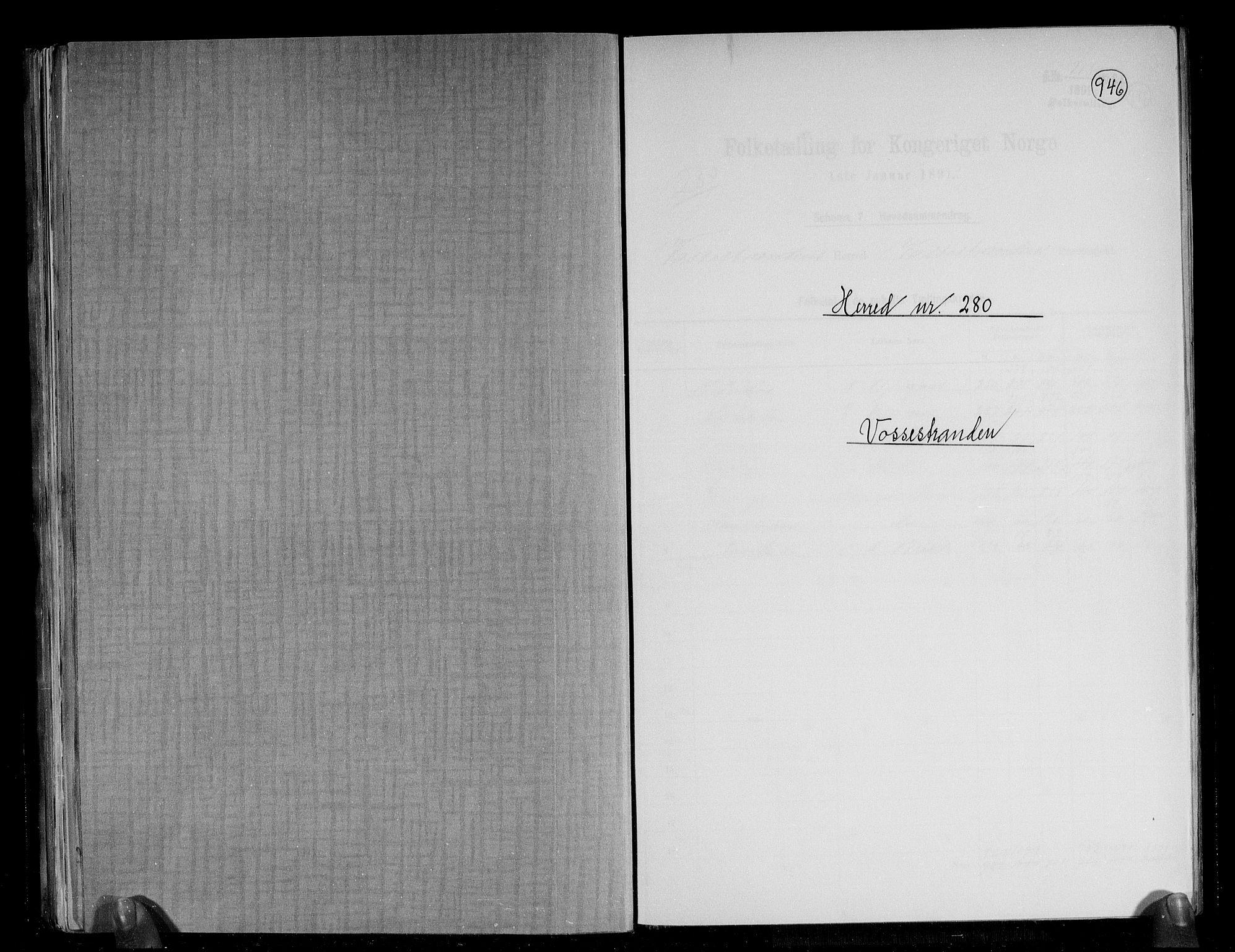 RA, Folketelling 1891 for 1236 Vossestrand herred, 1891, s. 1