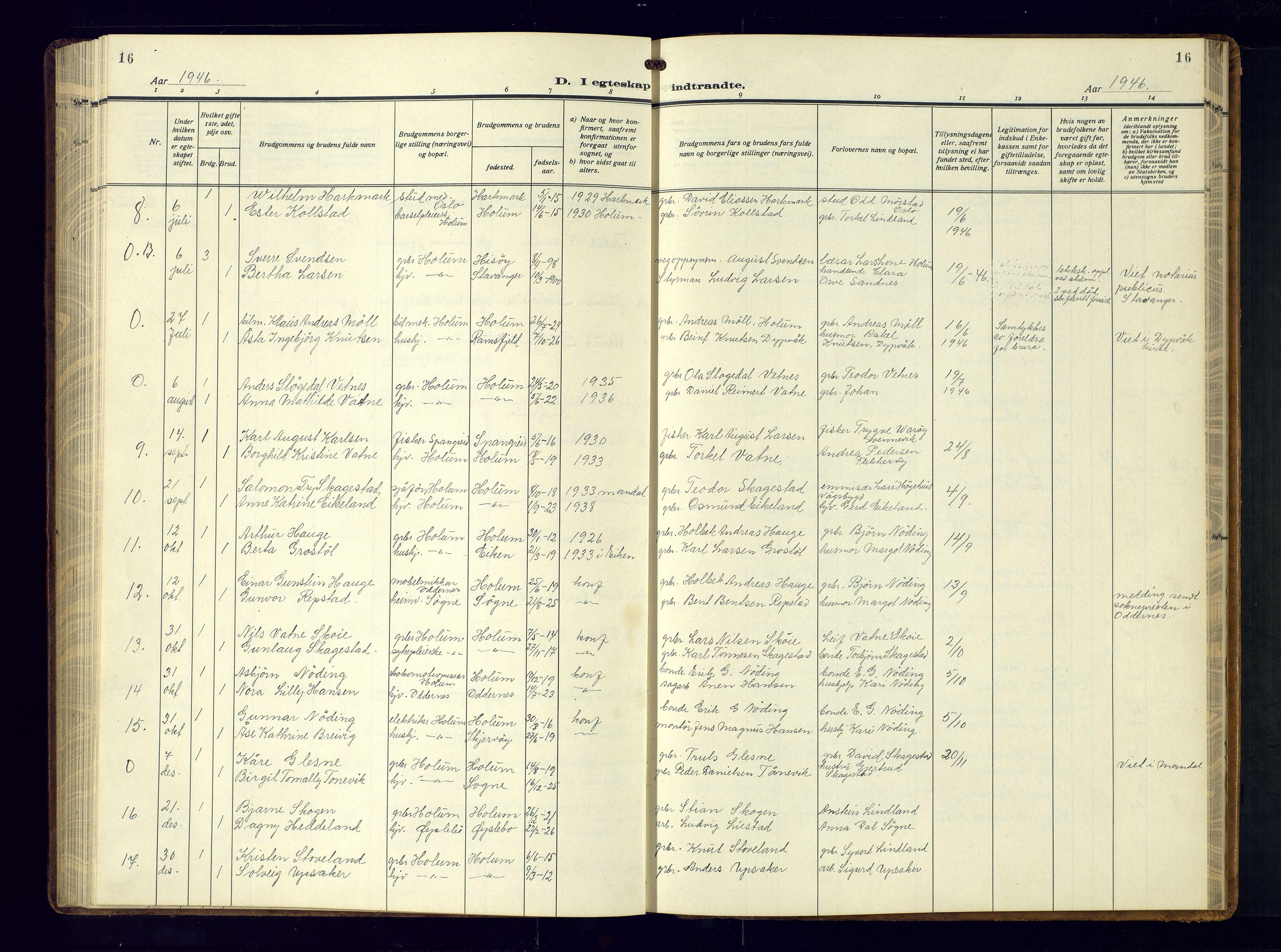 SAK, Holum sokneprestkontor, F/Fb/Fba/L0007: Klokkerbok nr. B-7, 1933-1960, s. 16