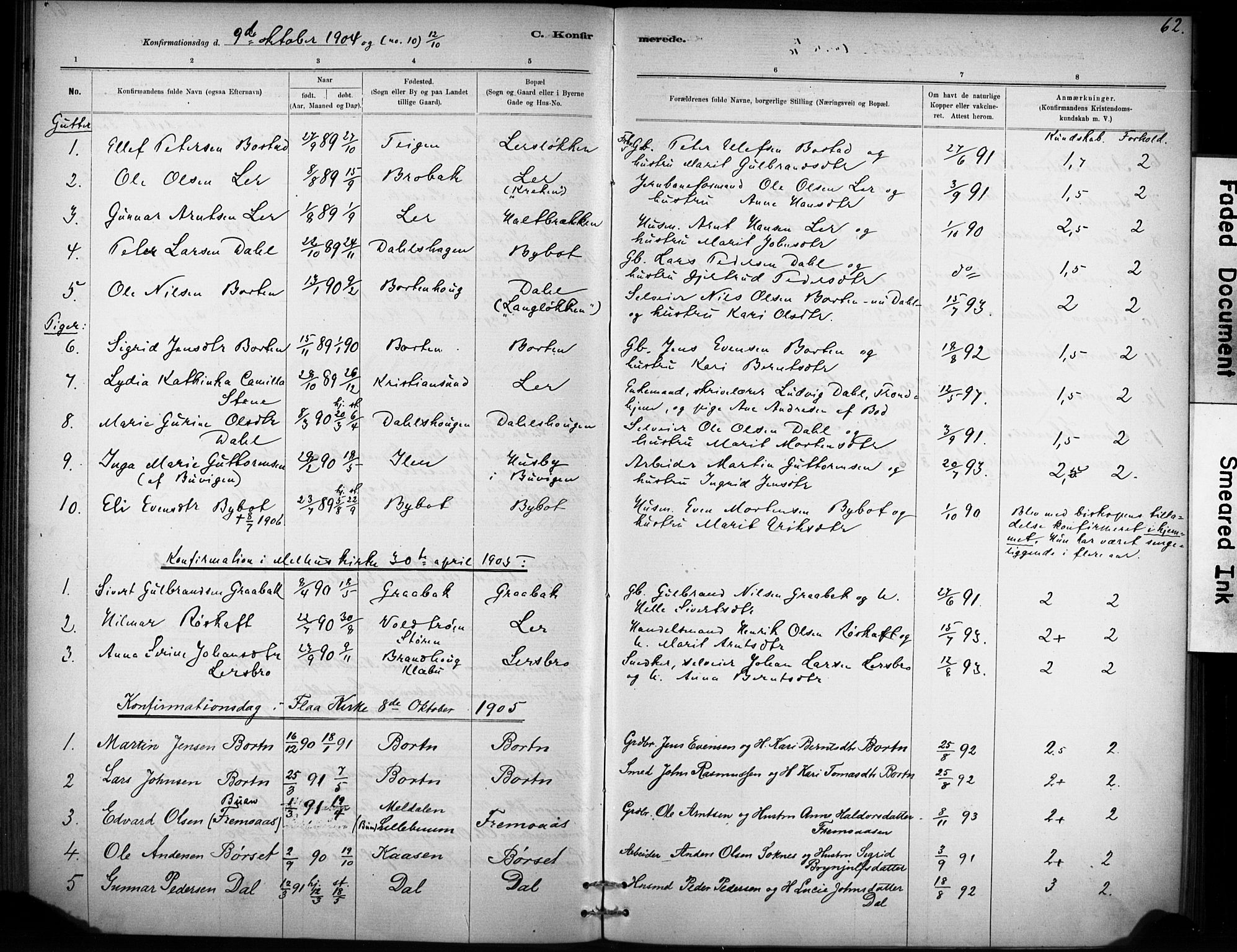 SAT, Ministerialprotokoller, klokkerbøker og fødselsregistre - Sør-Trøndelag, 693/L1119: Ministerialbok nr. 693A01, 1887-1905, s. 62