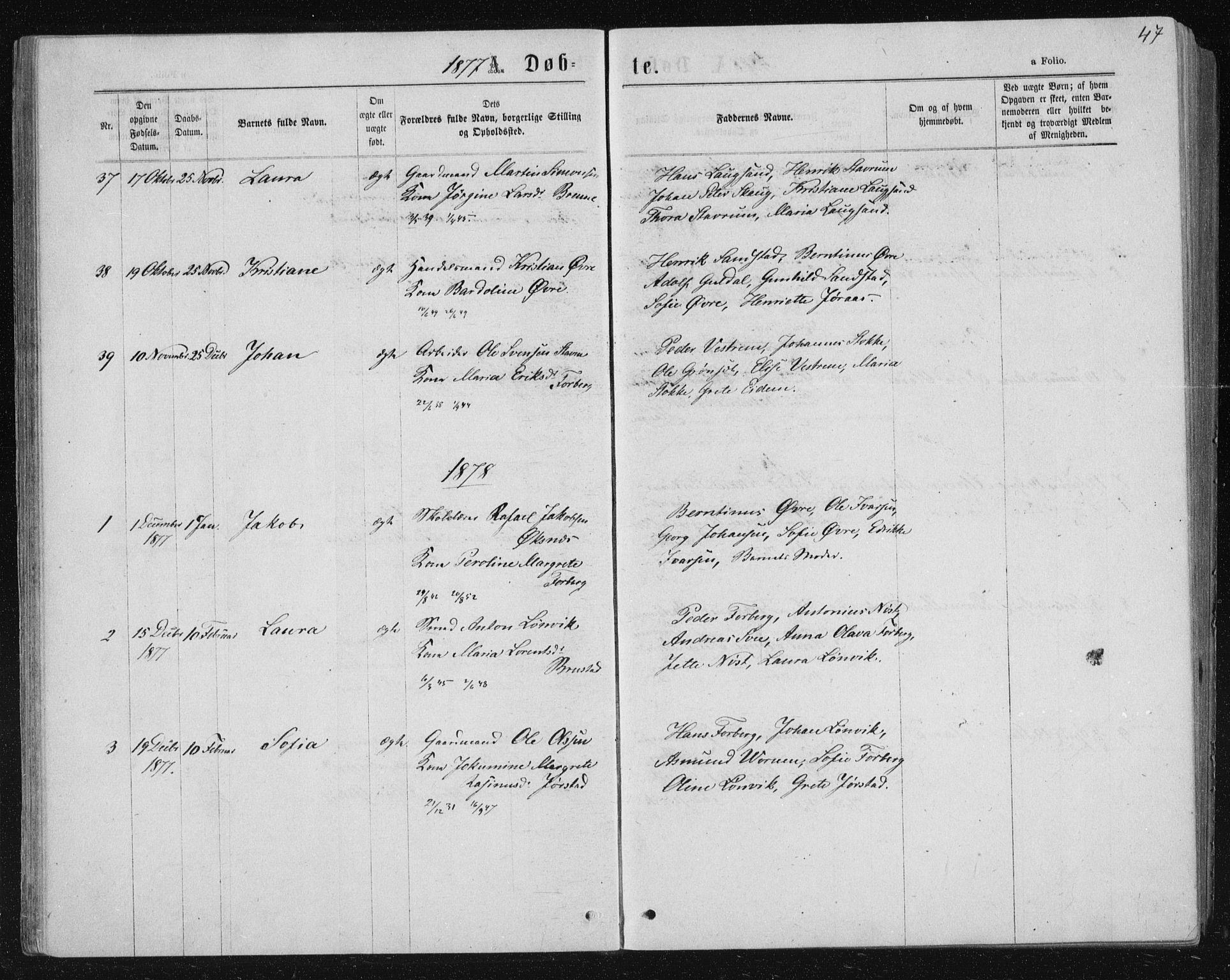 SAT, Ministerialprotokoller, klokkerbøker og fødselsregistre - Nord-Trøndelag, 722/L0219: Ministerialbok nr. 722A06, 1868-1880, s. 47