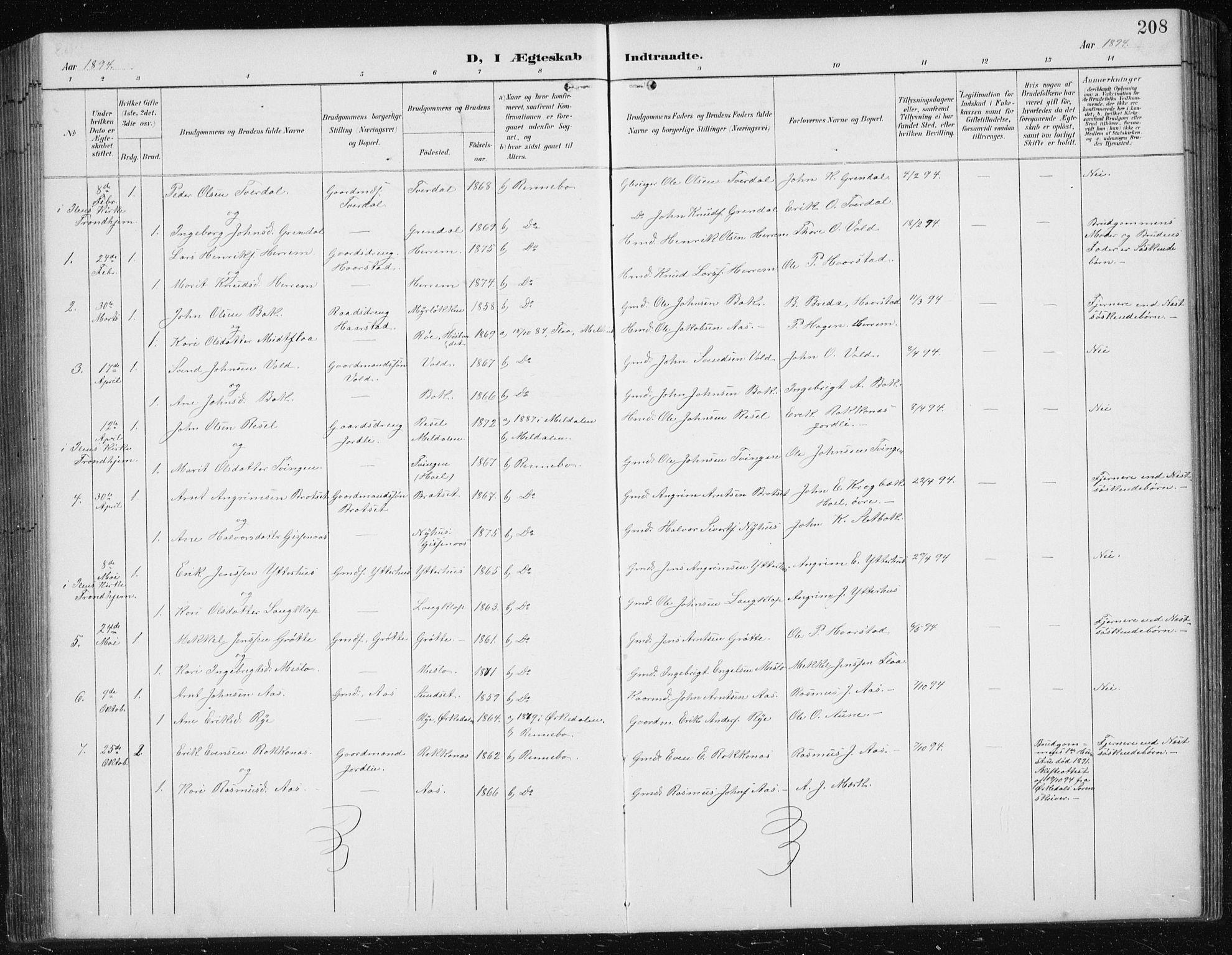 SAT, Ministerialprotokoller, klokkerbøker og fødselsregistre - Sør-Trøndelag, 674/L0876: Klokkerbok nr. 674C03, 1892-1912, s. 208