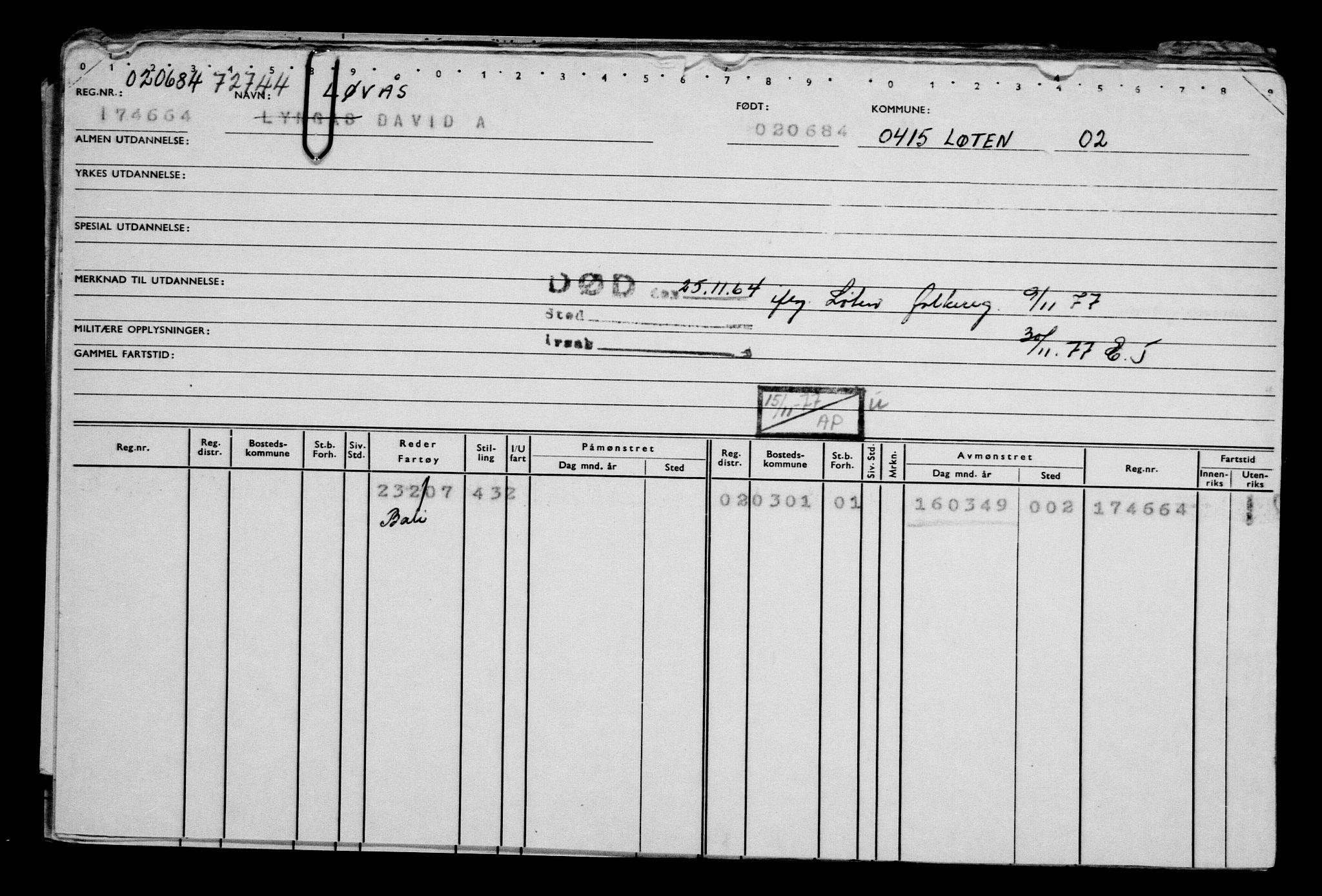 RA, Direktoratet for sjømenn, G/Gb/L0002: Hovedkort, 1883-1885, s. 283