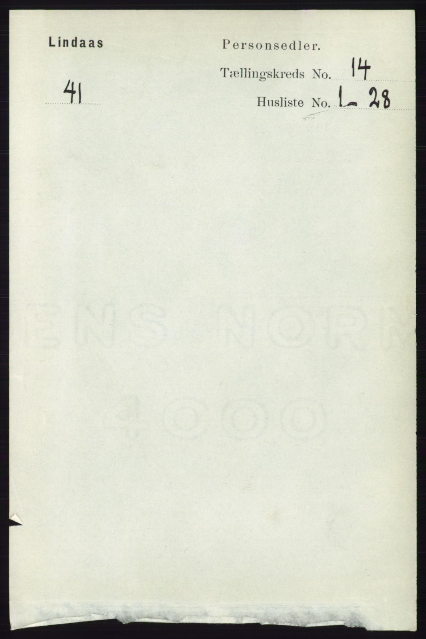 RA, Folketelling 1891 for 1263 Lindås herred, 1891, s. 4891