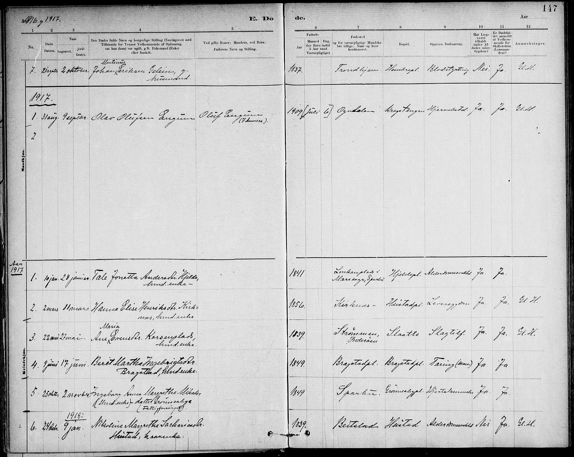 SAT, Ministerialprotokoller, klokkerbøker og fødselsregistre - Nord-Trøndelag, 732/L0316: Ministerialbok nr. 732A01, 1879-1921, s. 147