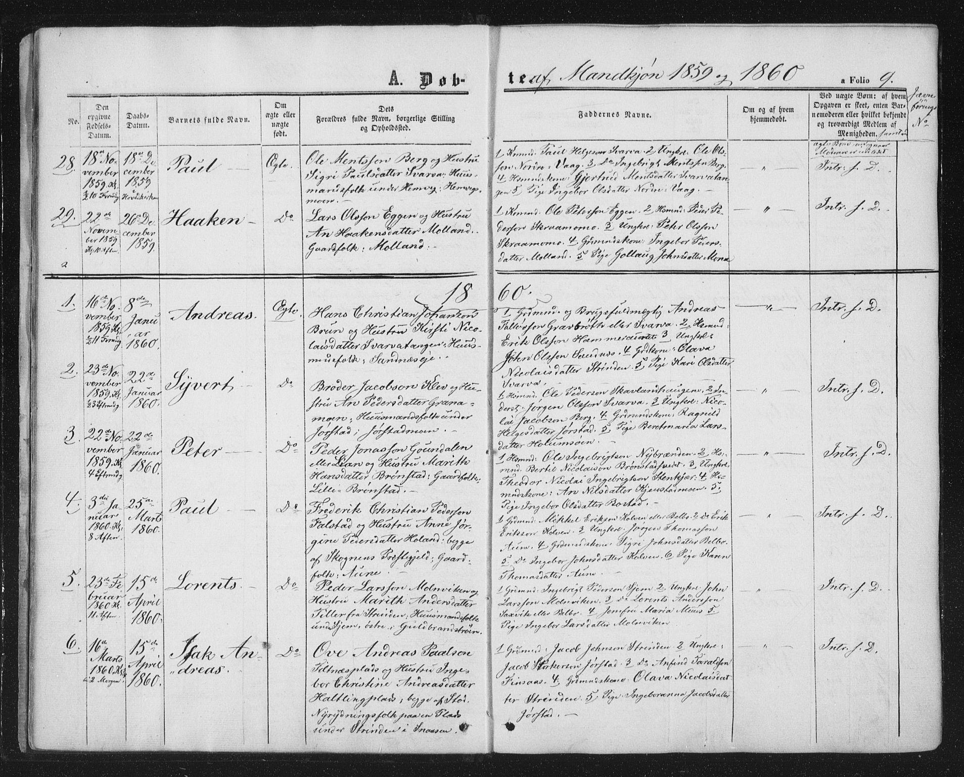 SAT, Ministerialprotokoller, klokkerbøker og fødselsregistre - Nord-Trøndelag, 749/L0472: Ministerialbok nr. 749A06, 1857-1873, s. 9