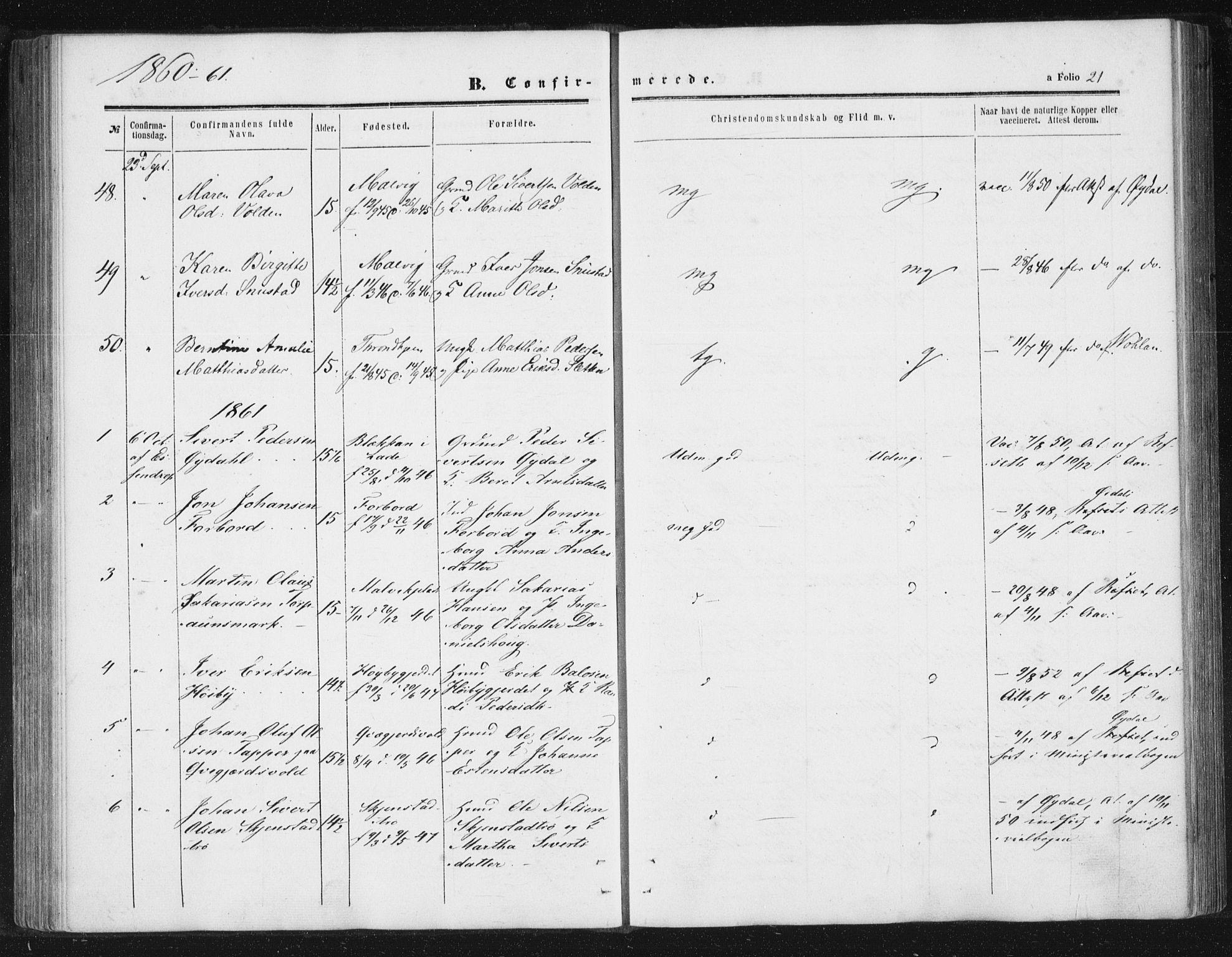 SAT, Ministerialprotokoller, klokkerbøker og fødselsregistre - Sør-Trøndelag, 616/L0408: Ministerialbok nr. 616A05, 1857-1865, s. 21