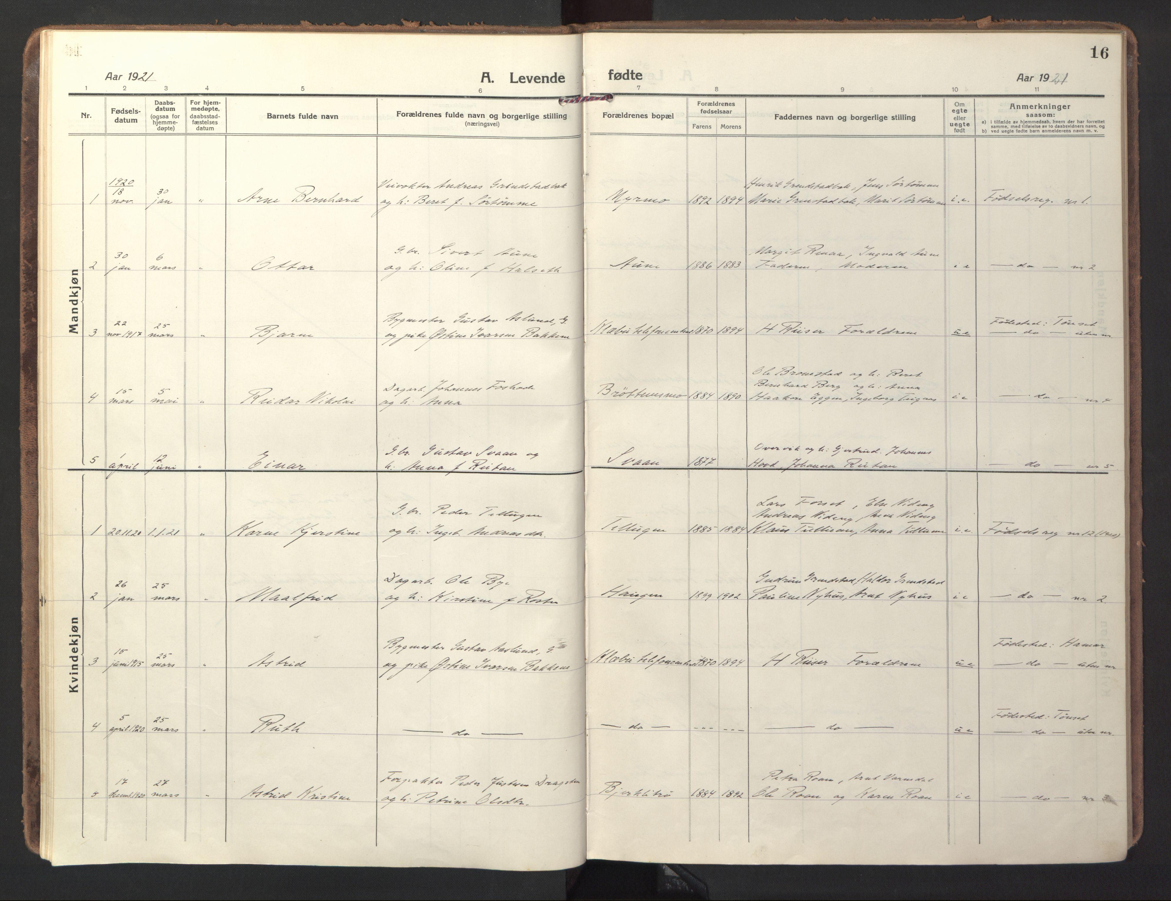 SAT, Ministerialprotokoller, klokkerbøker og fødselsregistre - Sør-Trøndelag, 618/L0449: Ministerialbok nr. 618A12, 1917-1924, s. 16