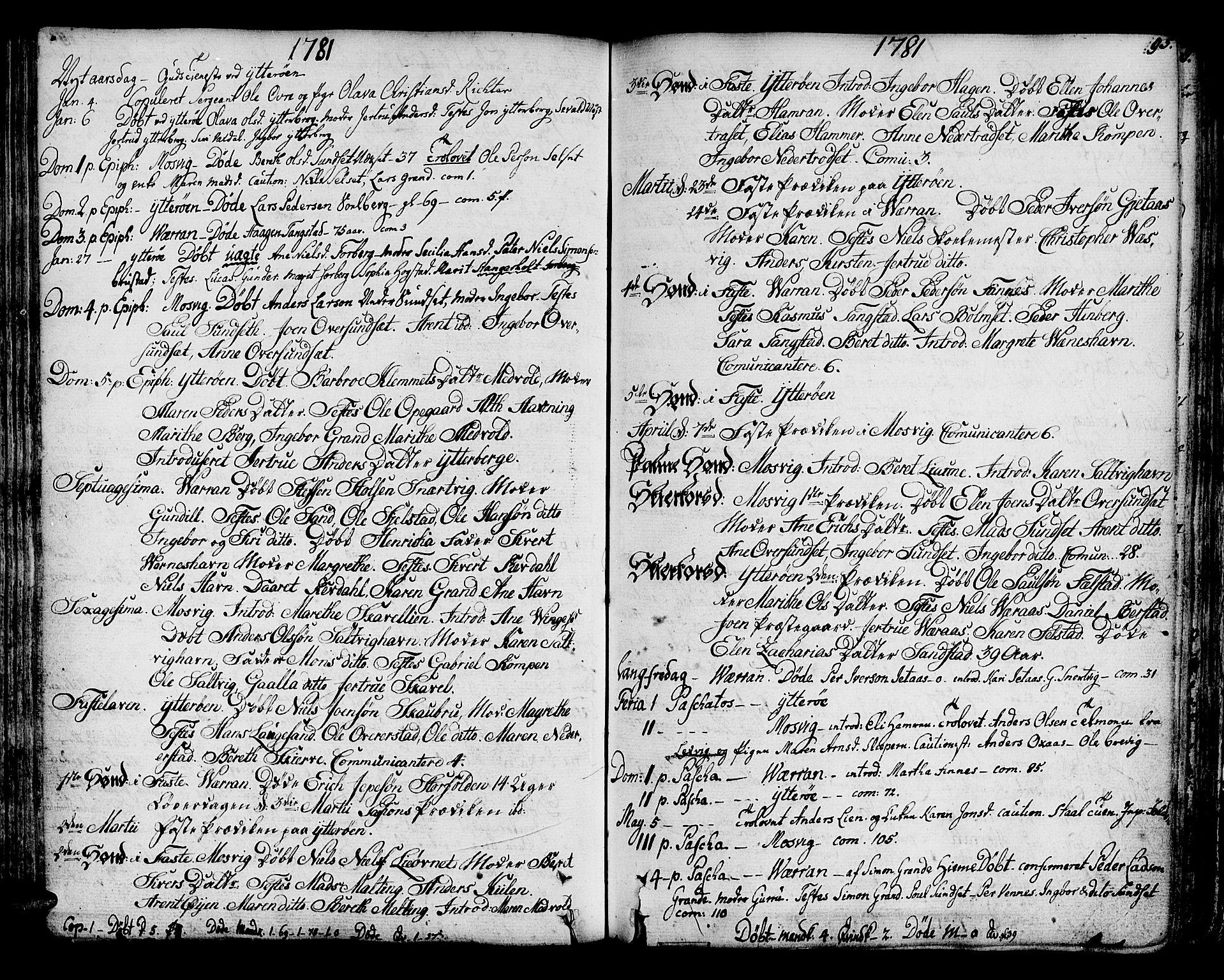 SAT, Ministerialprotokoller, klokkerbøker og fødselsregistre - Nord-Trøndelag, 722/L0216: Ministerialbok nr. 722A03, 1756-1816, s. 95