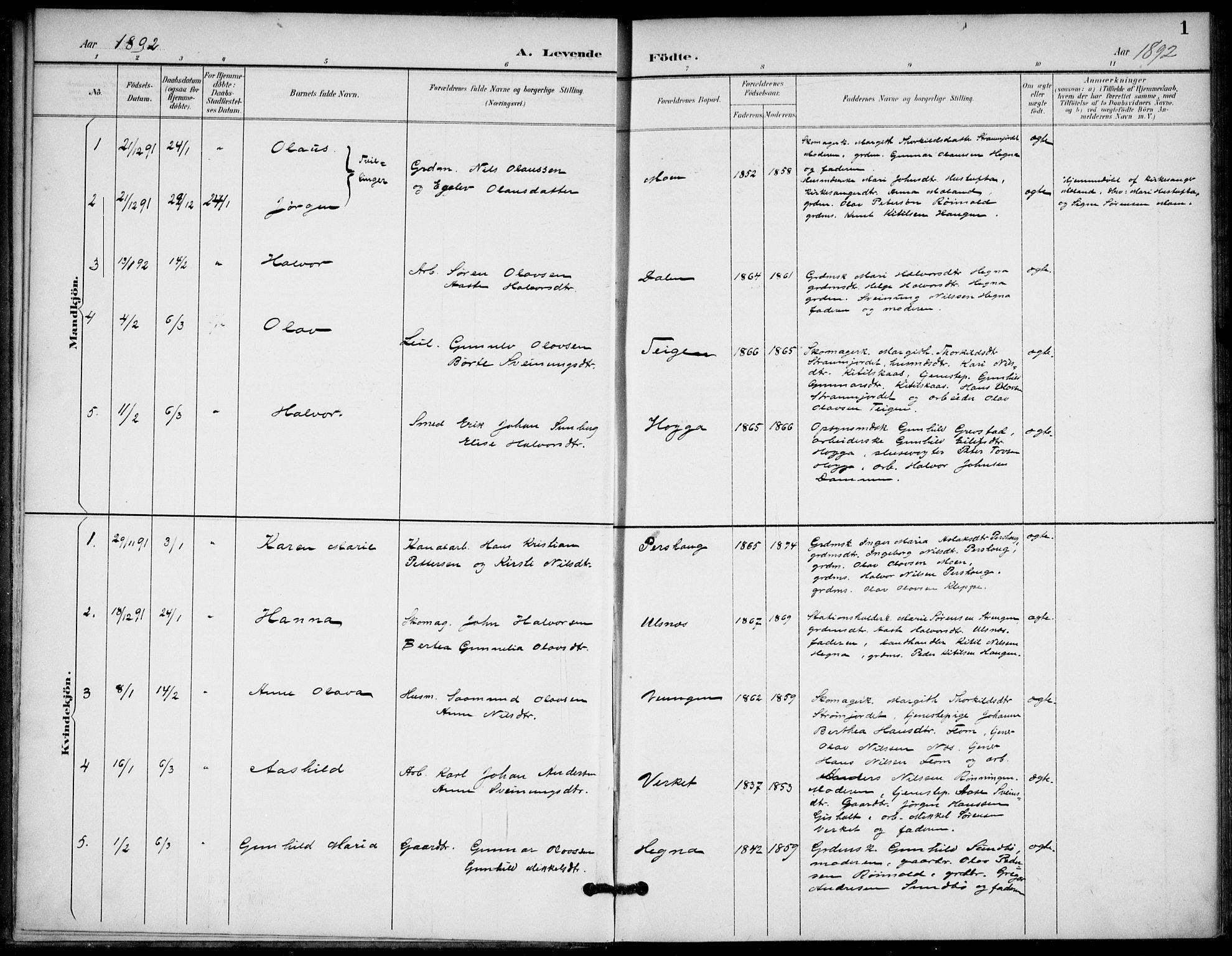 SAKO, Lunde kirkebøker, F/Fb/L0004: Ministerialbok nr. II 4, 1892-1907, s. 1