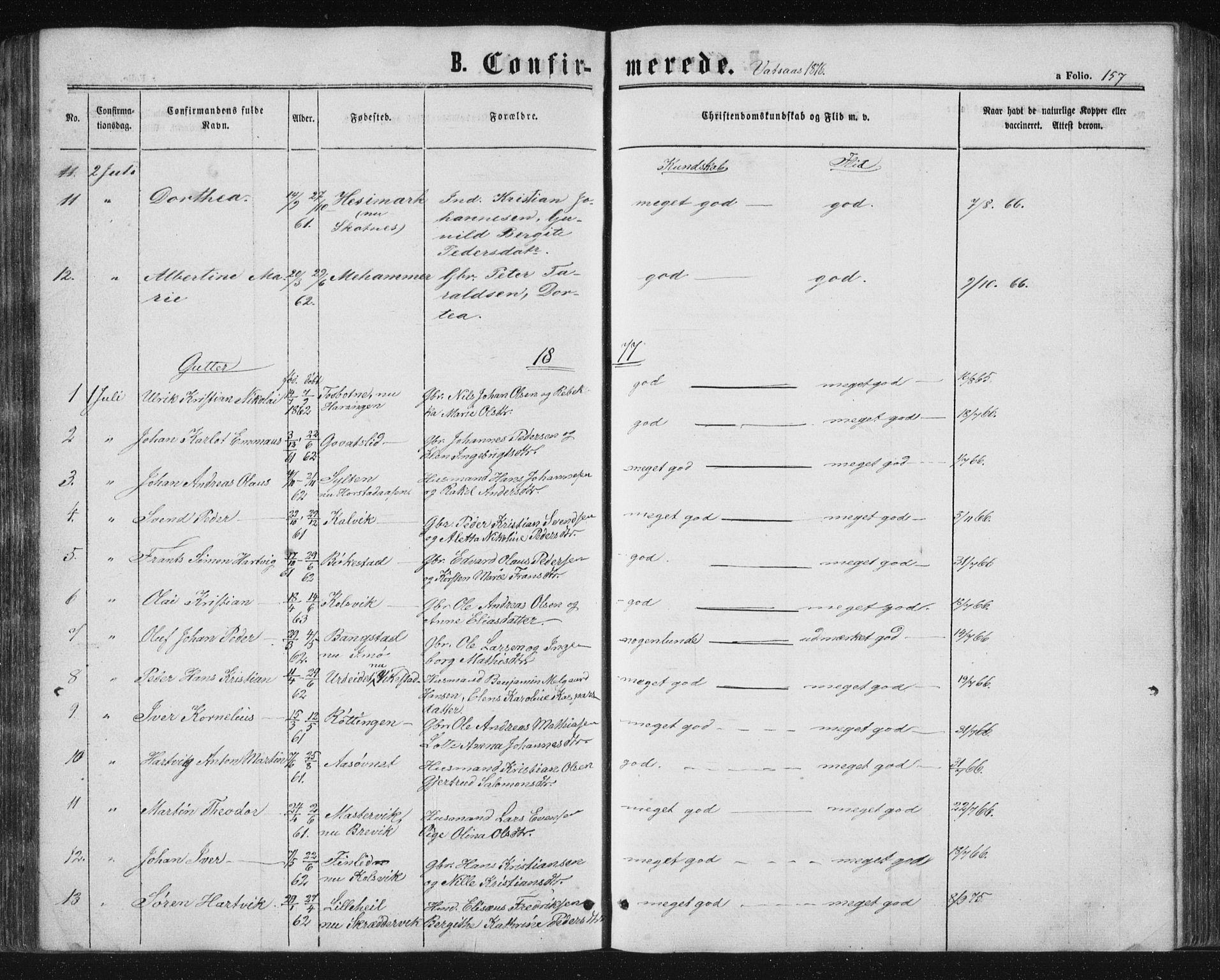 SAT, Ministerialprotokoller, klokkerbøker og fødselsregistre - Nordland, 810/L0158: Klokkerbok nr. 810C02 /1, 1863-1883, s. 157