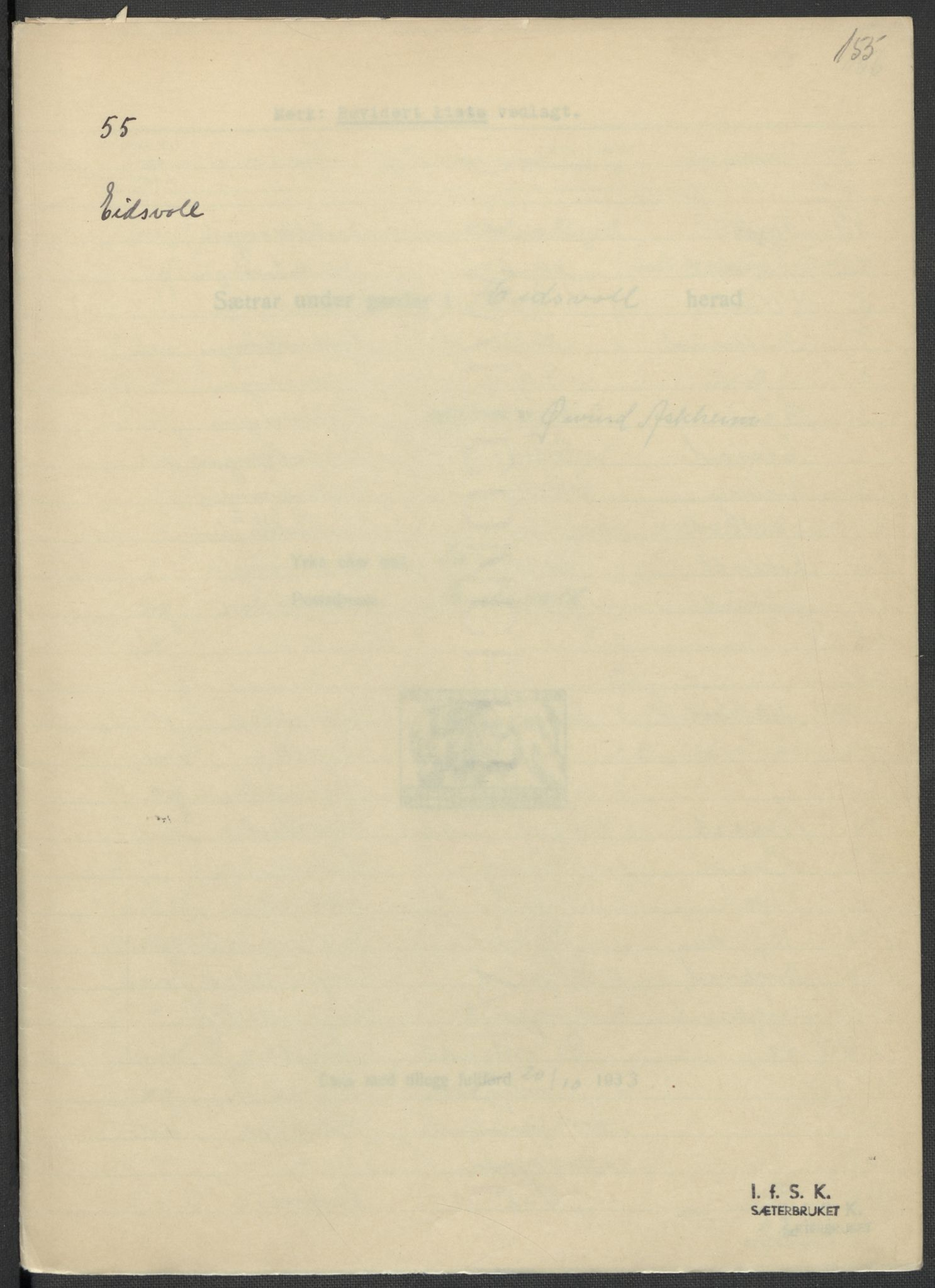 RA, Instituttet for sammenlignende kulturforskning, F/Fc/L0002: Eske B2:, 1932-1936, s. 155