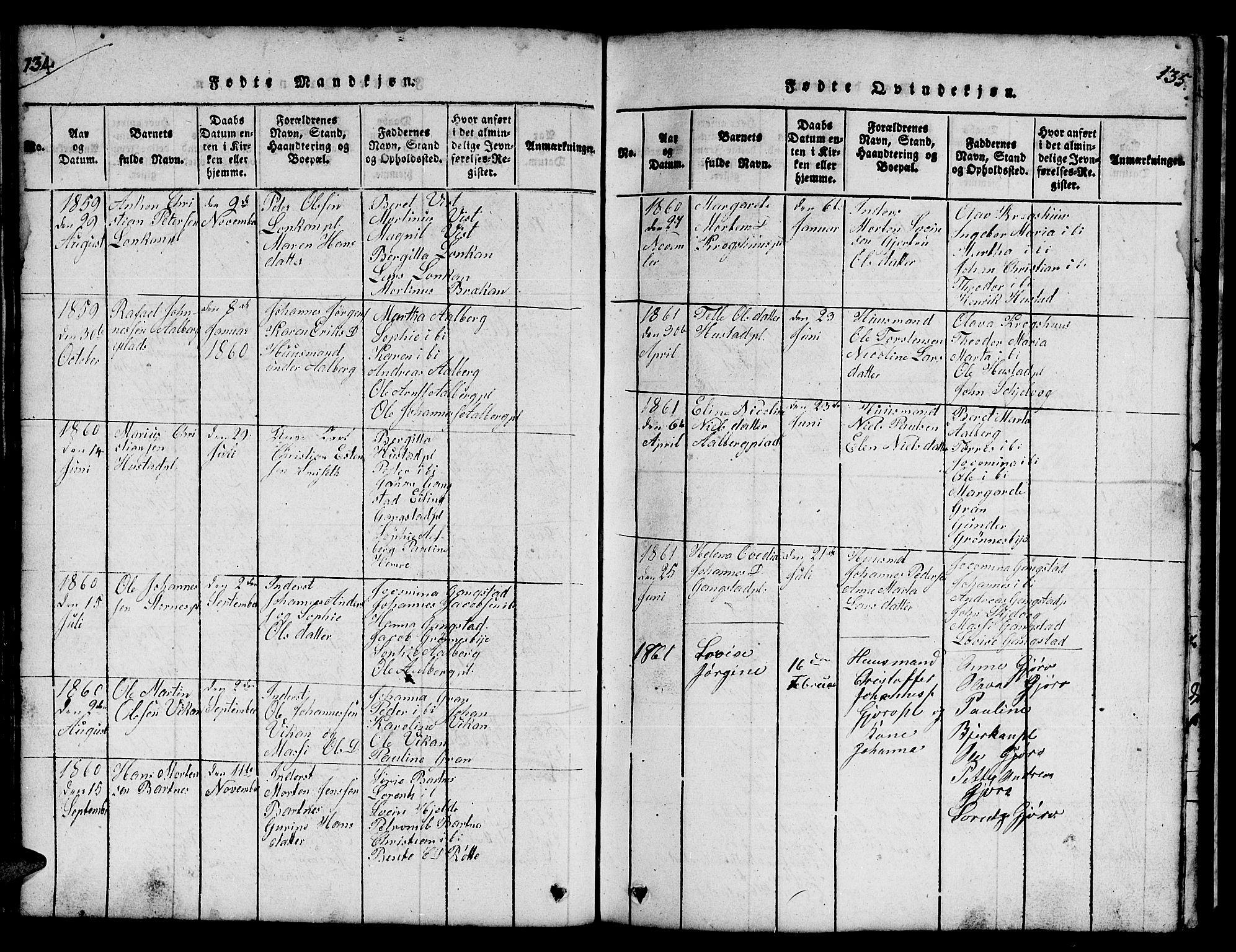 SAT, Ministerialprotokoller, klokkerbøker og fødselsregistre - Nord-Trøndelag, 732/L0317: Klokkerbok nr. 732C01, 1816-1881, s. 134-135