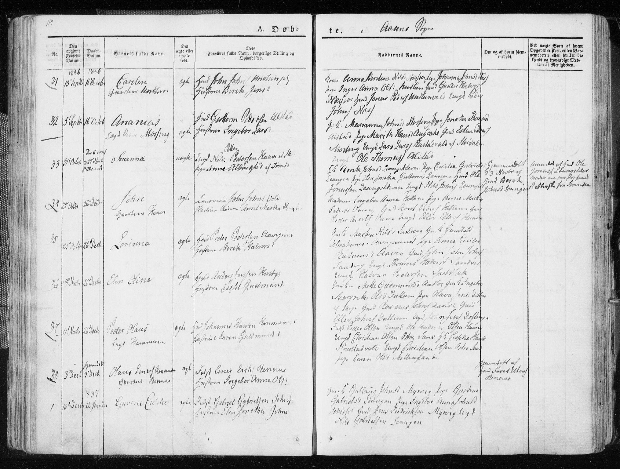 SAT, Ministerialprotokoller, klokkerbøker og fødselsregistre - Nord-Trøndelag, 713/L0114: Ministerialbok nr. 713A05, 1827-1839, s. 114