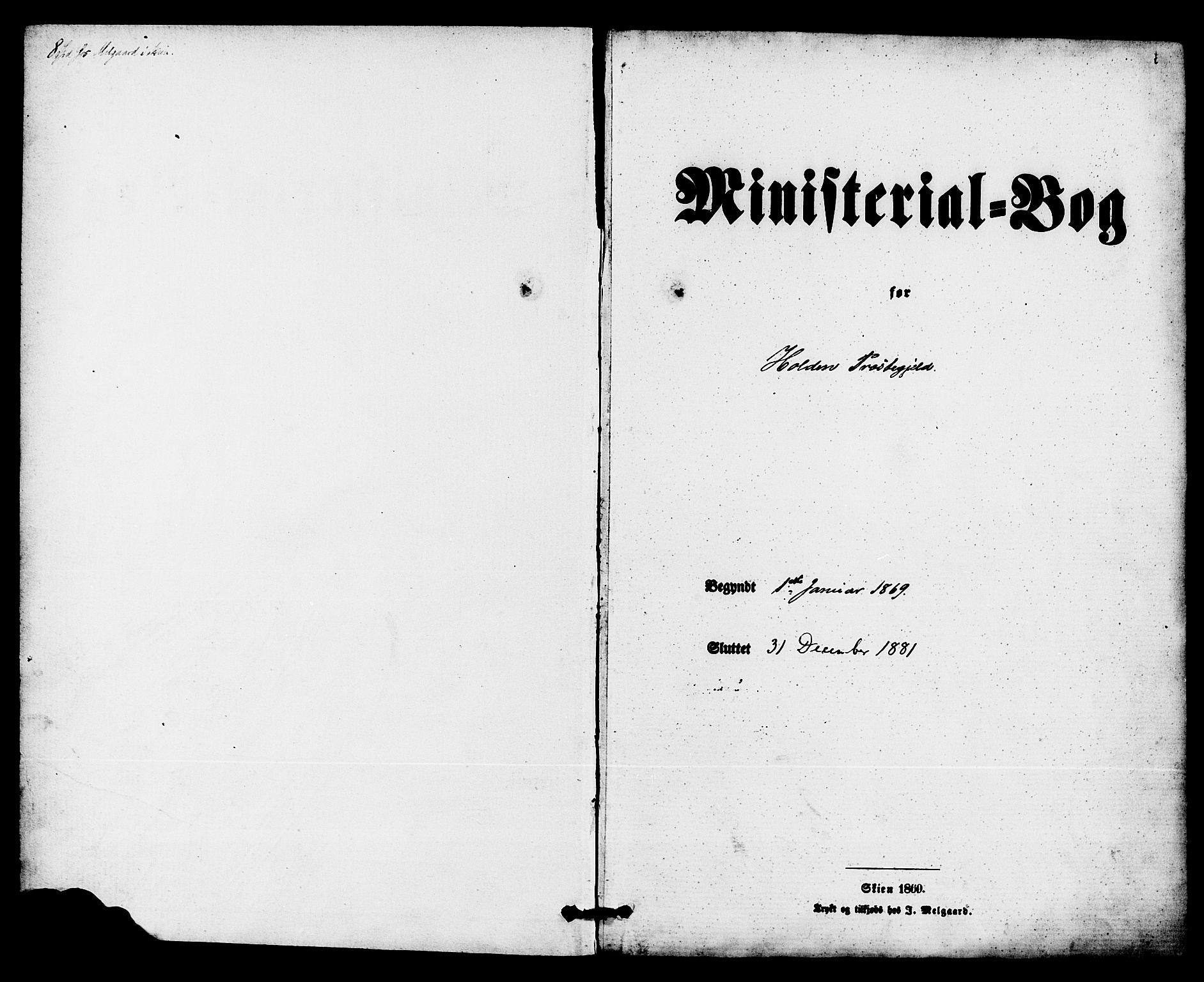 SAKO, Holla kirkebøker, F/Fa/L0007: Ministerialbok nr. 7, 1869-1881, s. 1