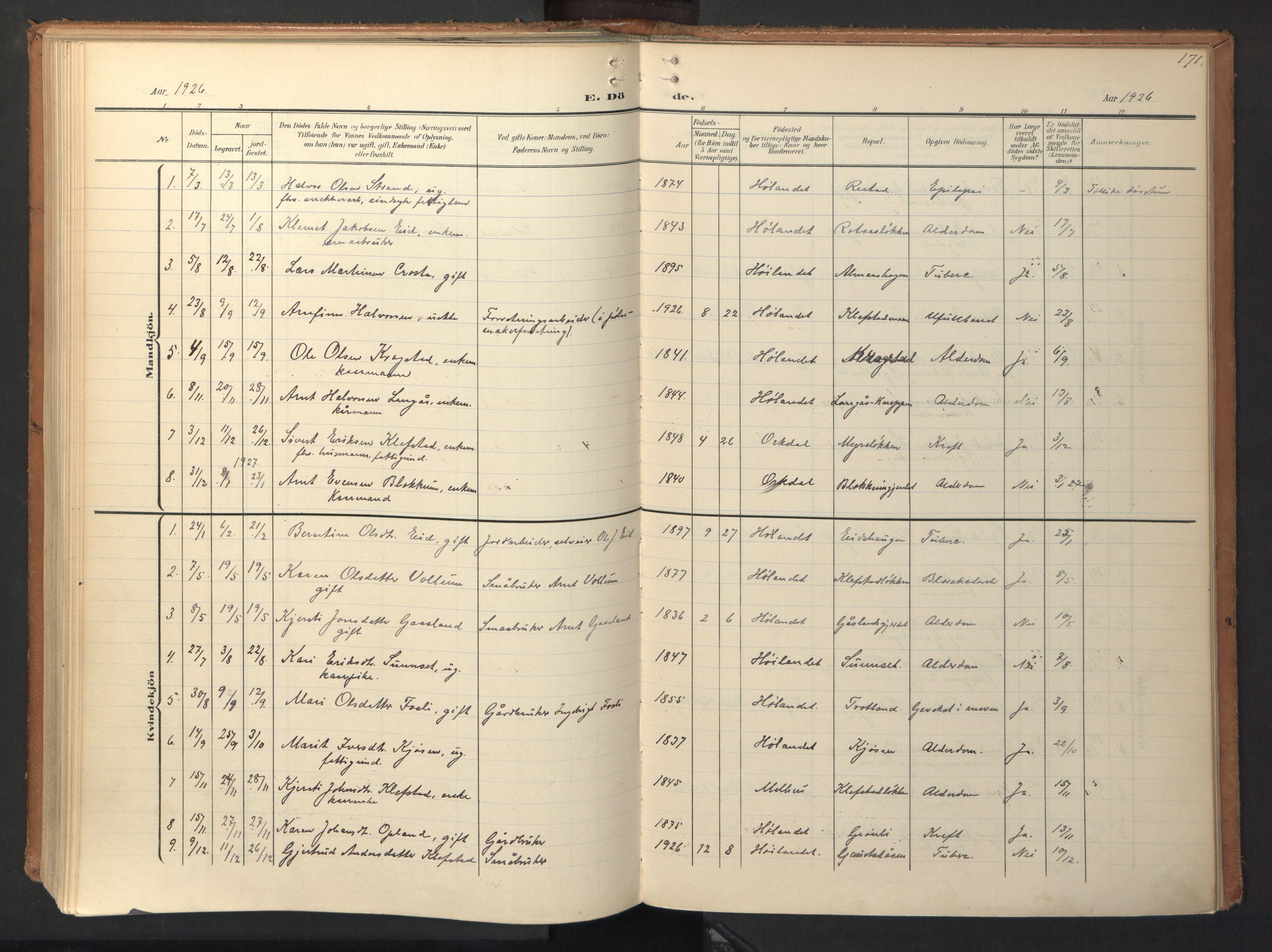 SAT, Ministerialprotokoller, klokkerbøker og fødselsregistre - Sør-Trøndelag, 694/L1128: Ministerialbok nr. 694A02, 1906-1931, s. 171
