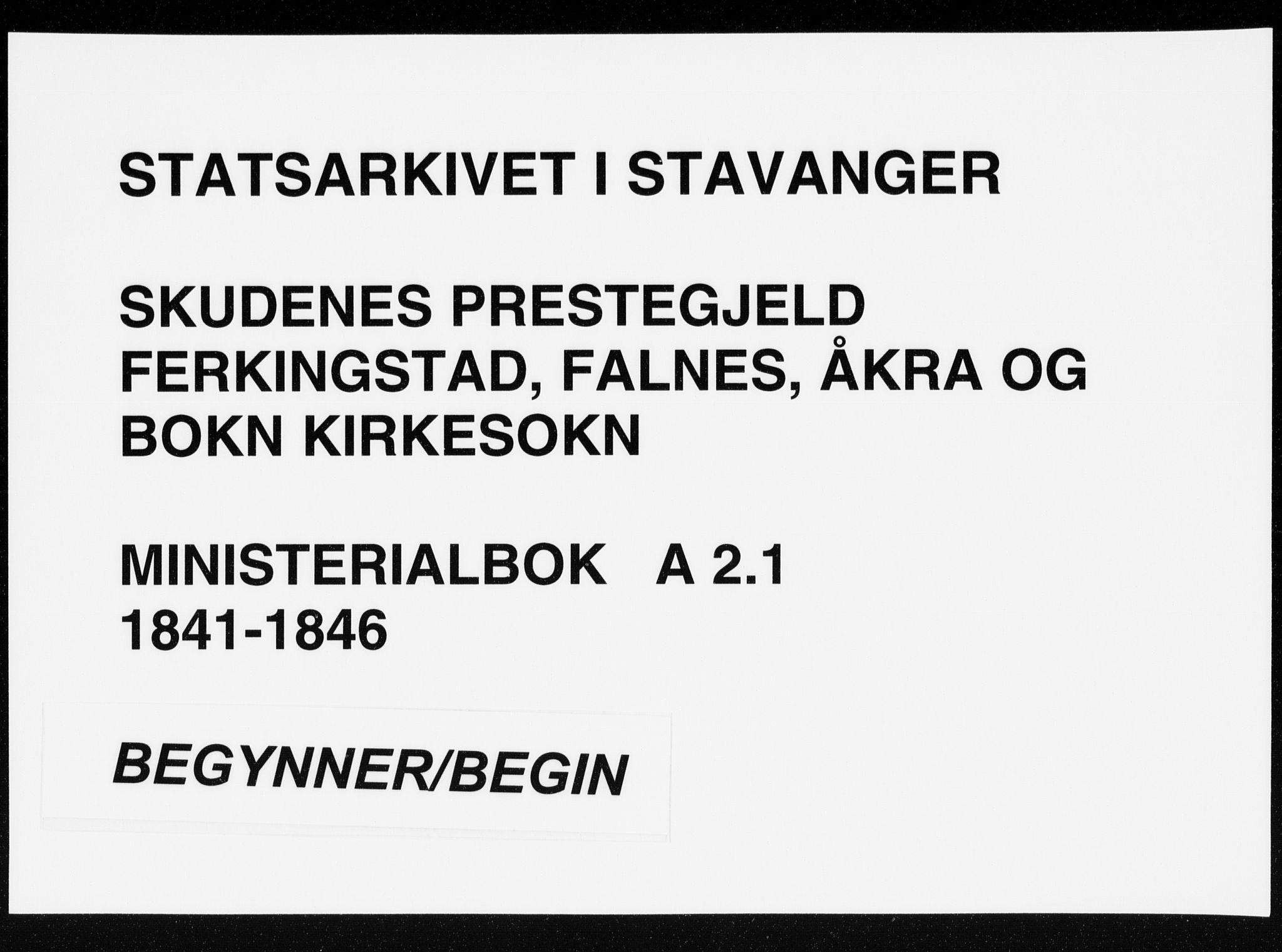 SAST, Skudenes sokneprestkontor, H/Ha/Haa/L0002: Ministerialbok nr. A 2.1, 1841-1846