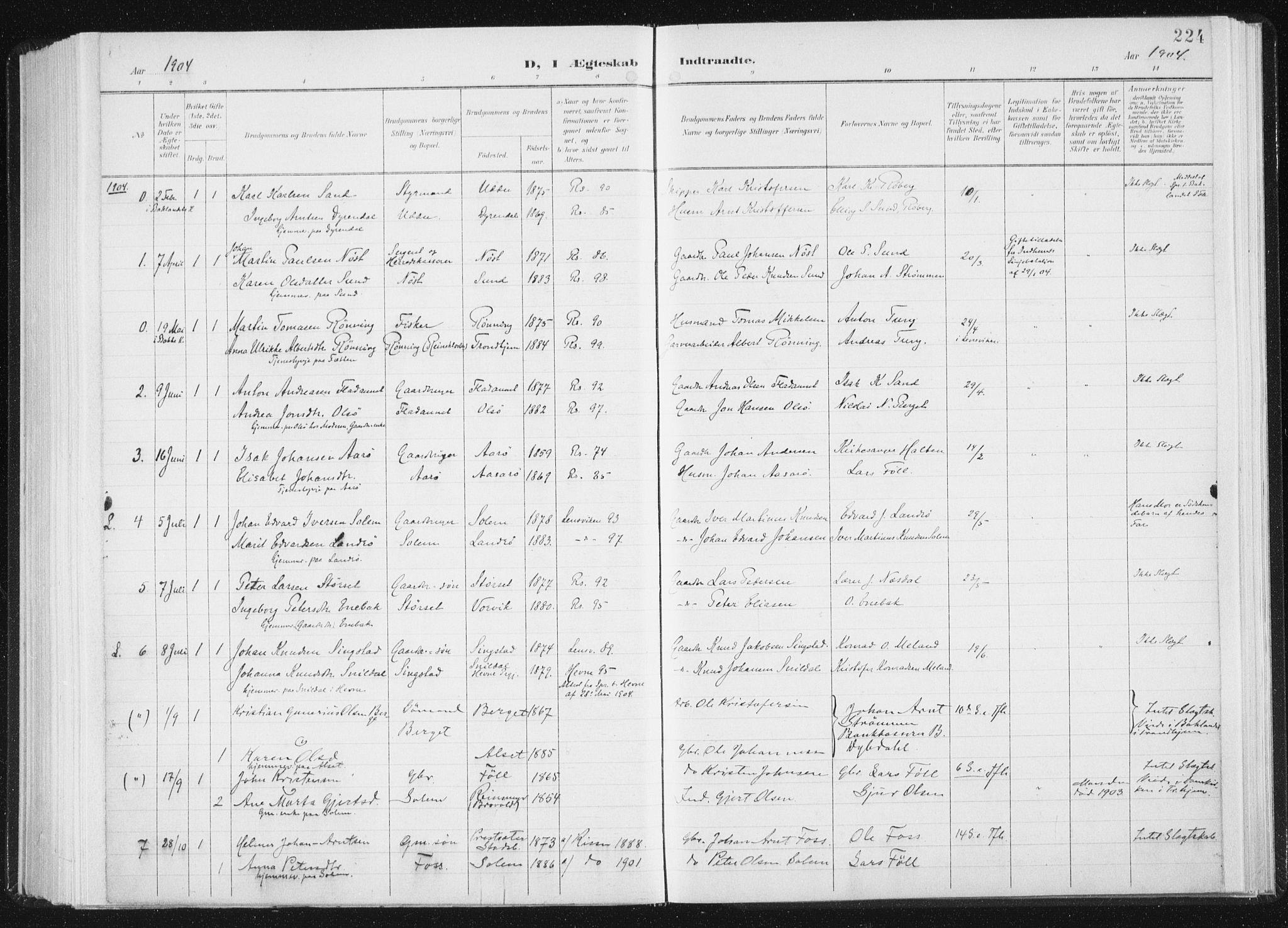 SAT, Ministerialprotokoller, klokkerbøker og fødselsregistre - Sør-Trøndelag, 647/L0635: Ministerialbok nr. 647A02, 1896-1911, s. 224