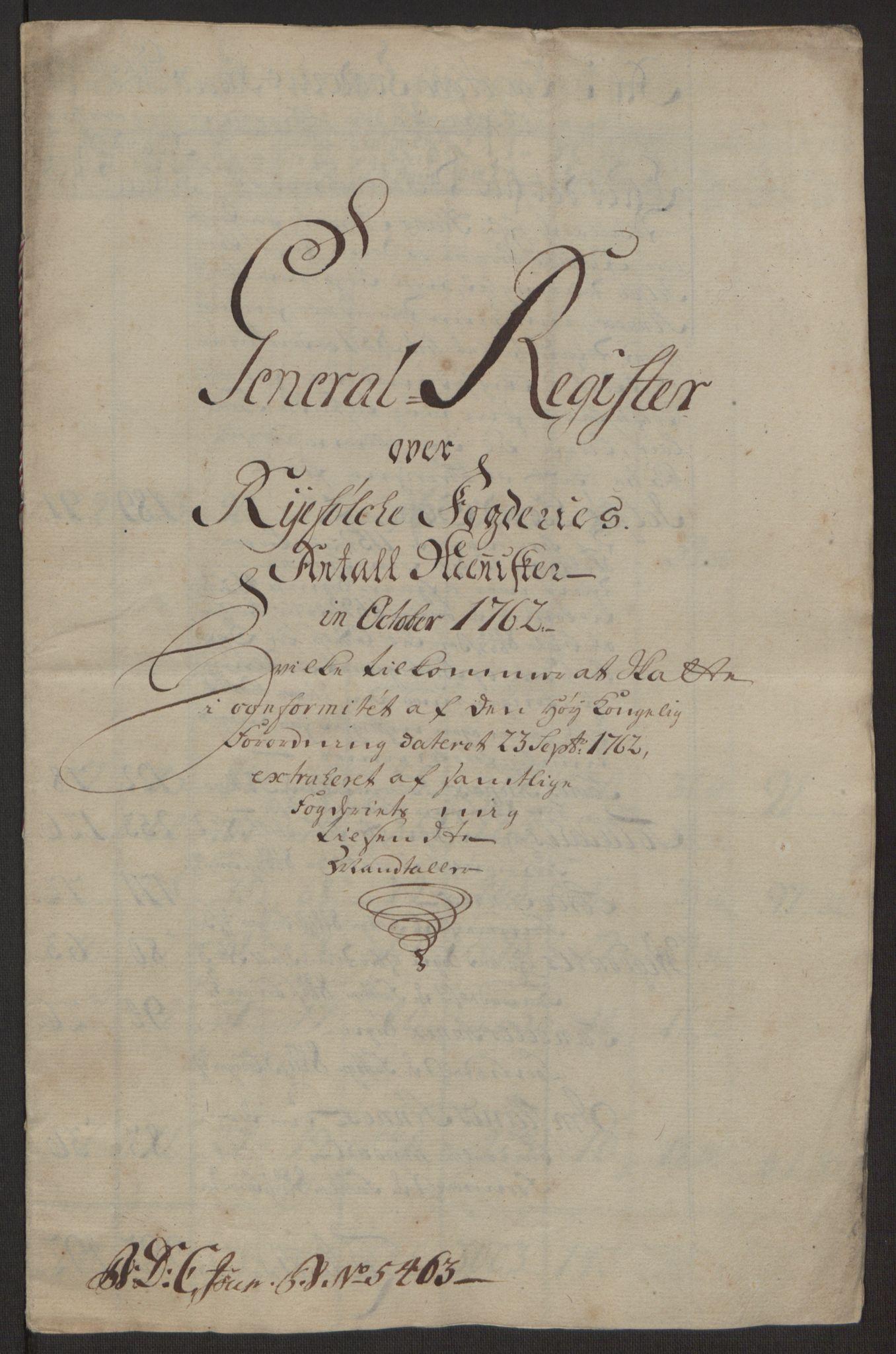 RA, Rentekammeret inntil 1814, Realistisk ordnet avdeling, Ol/L0016a: [Gg 10]: Ekstraskatten, 23.09.1762. Ryfylke, 1762-1768, s. 5
