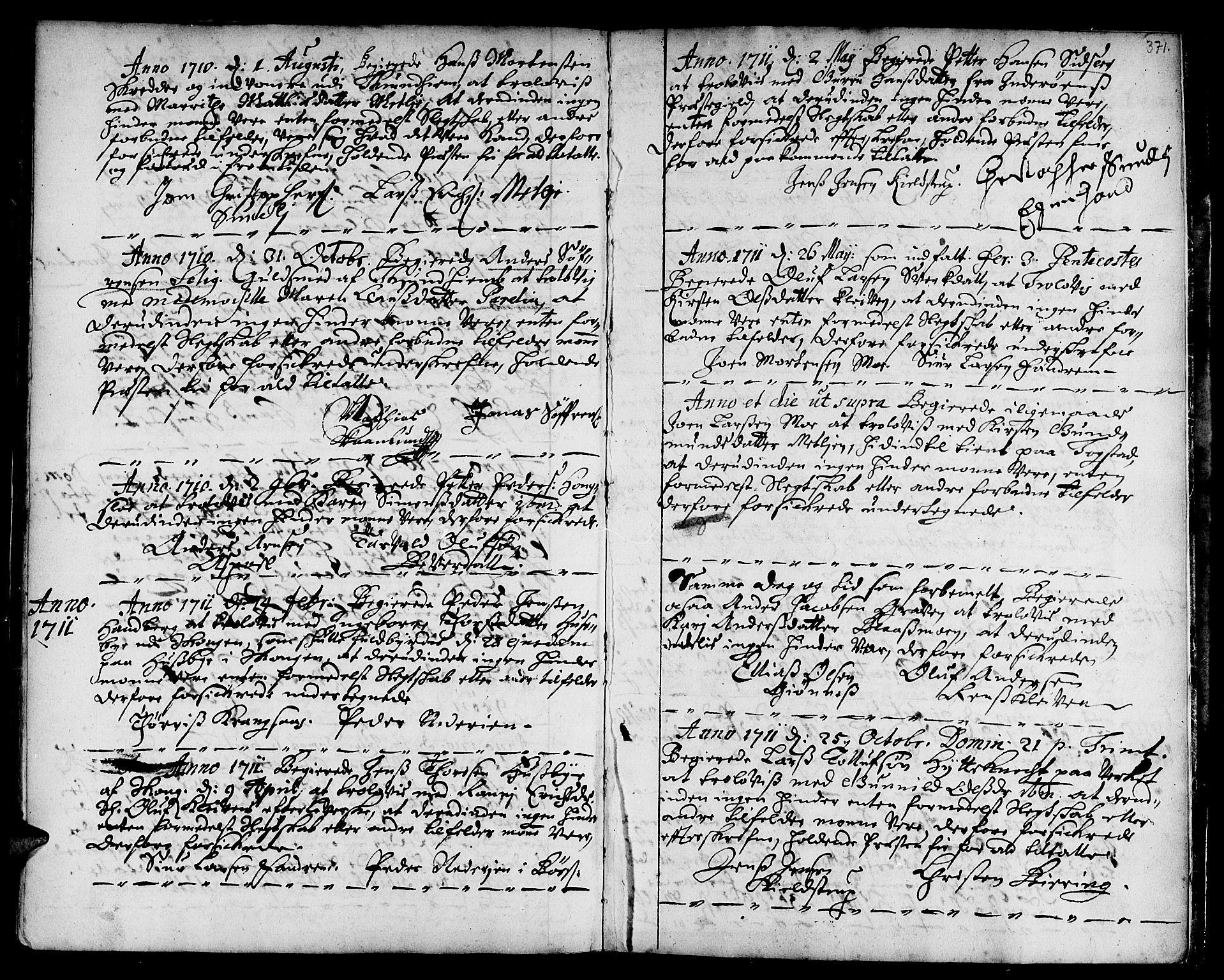 SAT, Ministerialprotokoller, klokkerbøker og fødselsregistre - Sør-Trøndelag, 668/L0801: Ministerialbok nr. 668A01, 1695-1716, s. 370-371