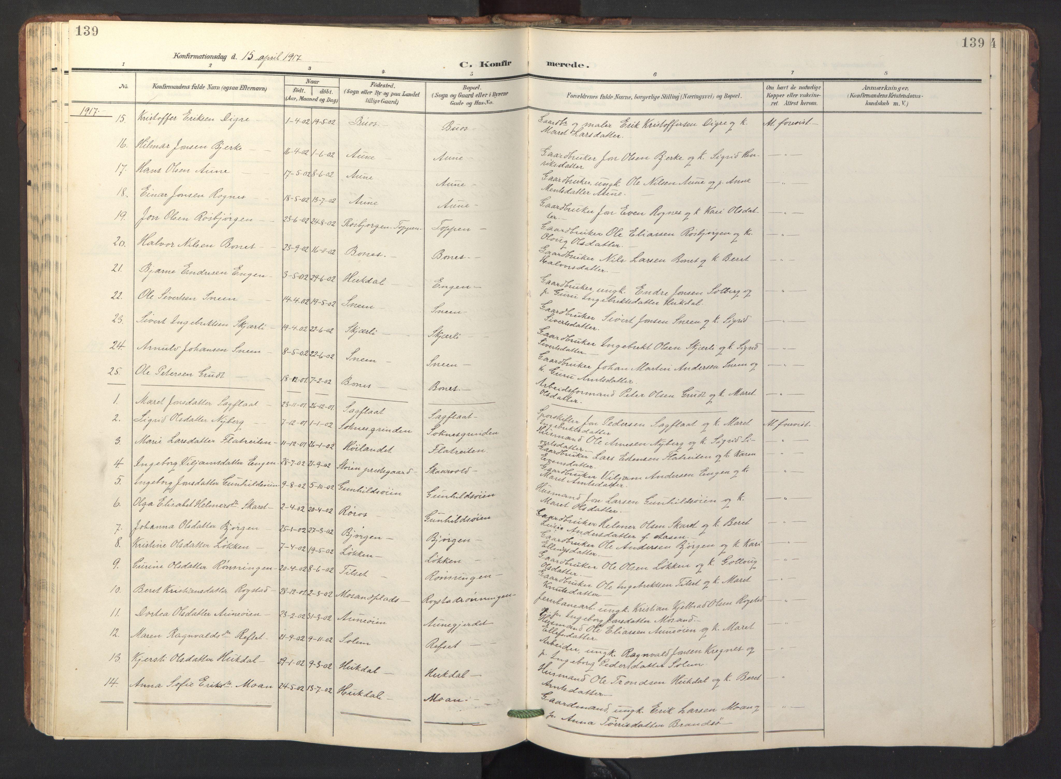 SAT, Ministerialprotokoller, klokkerbøker og fødselsregistre - Sør-Trøndelag, 687/L1019: Klokkerbok nr. 687C03, 1904-1931, s. 139