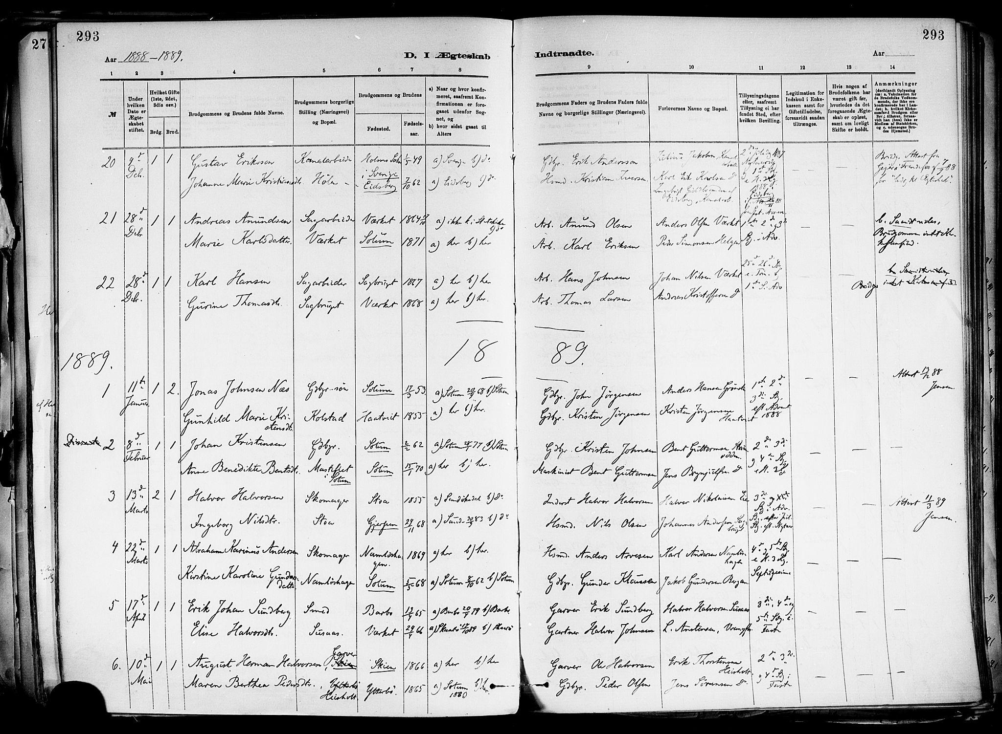 SAKO, Holla kirkebøker, F/Fa/L0008: Ministerialbok nr. 8, 1882-1897, s. 293