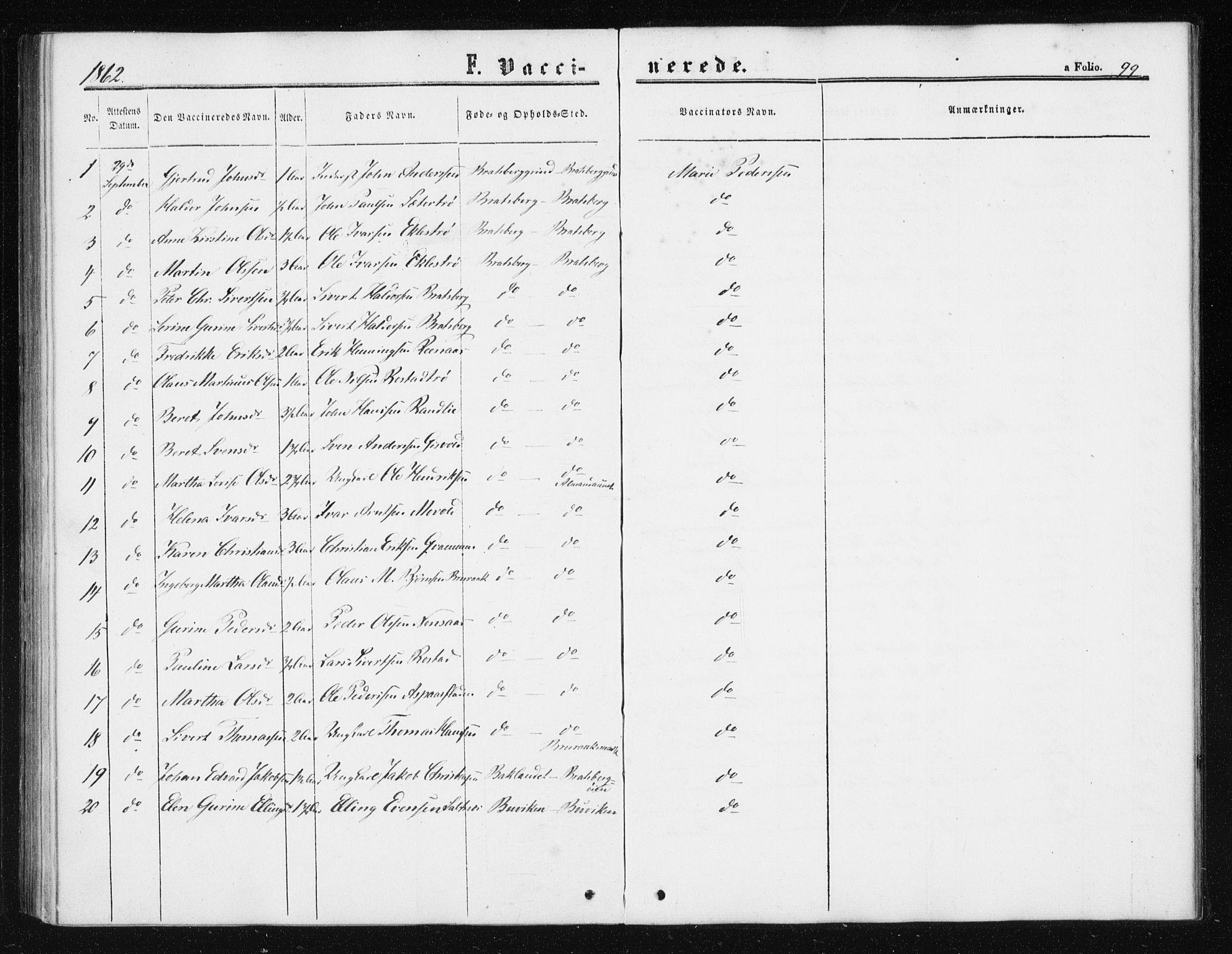 SAT, Ministerialprotokoller, klokkerbøker og fødselsregistre - Sør-Trøndelag, 608/L0333: Ministerialbok nr. 608A02, 1862-1876, s. 99