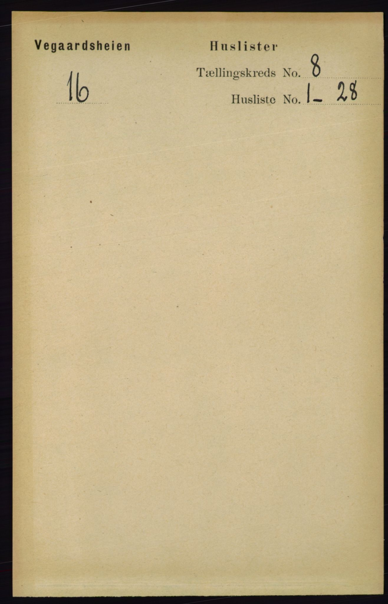 RA, Folketelling 1891 for 0912 Vegårshei herred, 1891, s. 1489