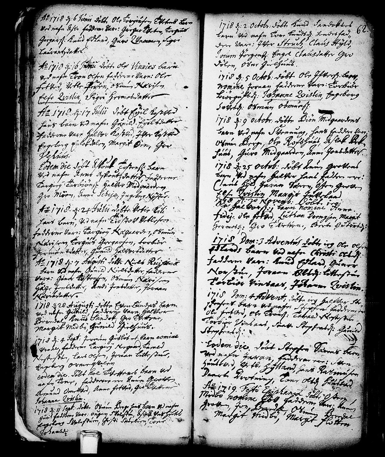SAKO, Vinje kirkebøker, F/Fa/L0001: Ministerialbok nr. I 1, 1717-1766, s. 62