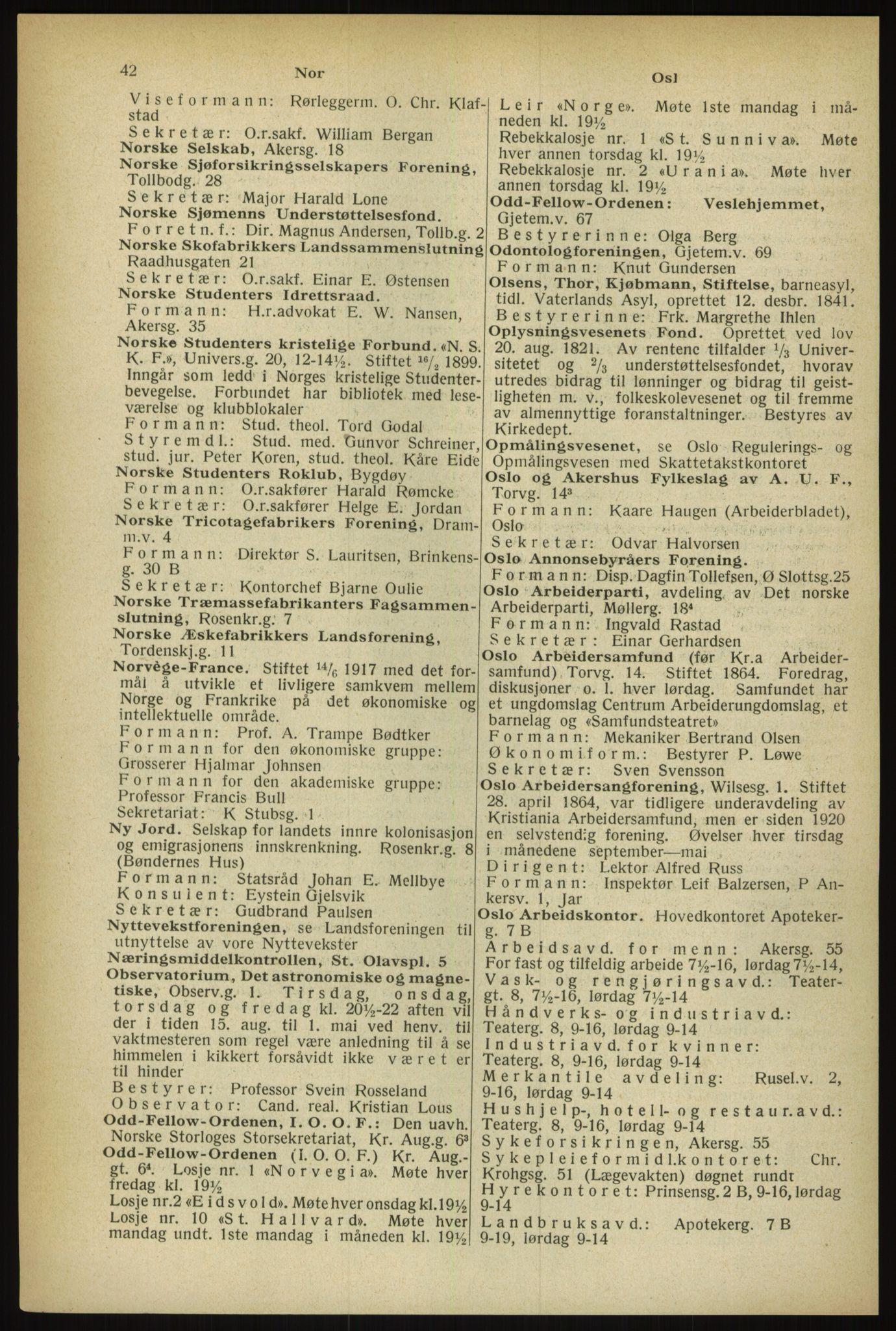 RA, Oslo adressebok (publikasjon)*, 1933, s. 42