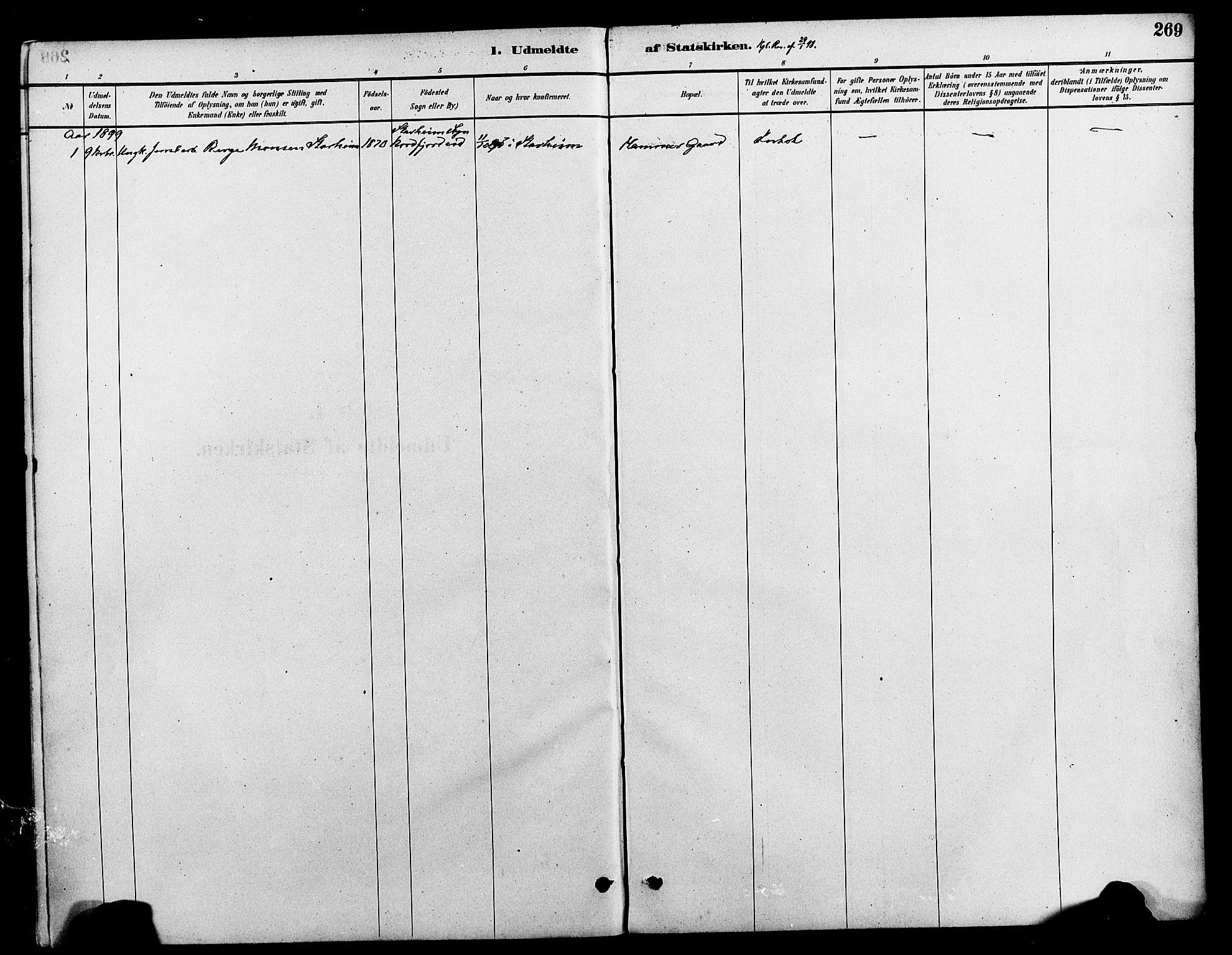 SAT, Ministerialprotokoller, klokkerbøker og fødselsregistre - Nord-Trøndelag, 712/L0100: Ministerialbok nr. 712A01, 1880-1900, s. 269