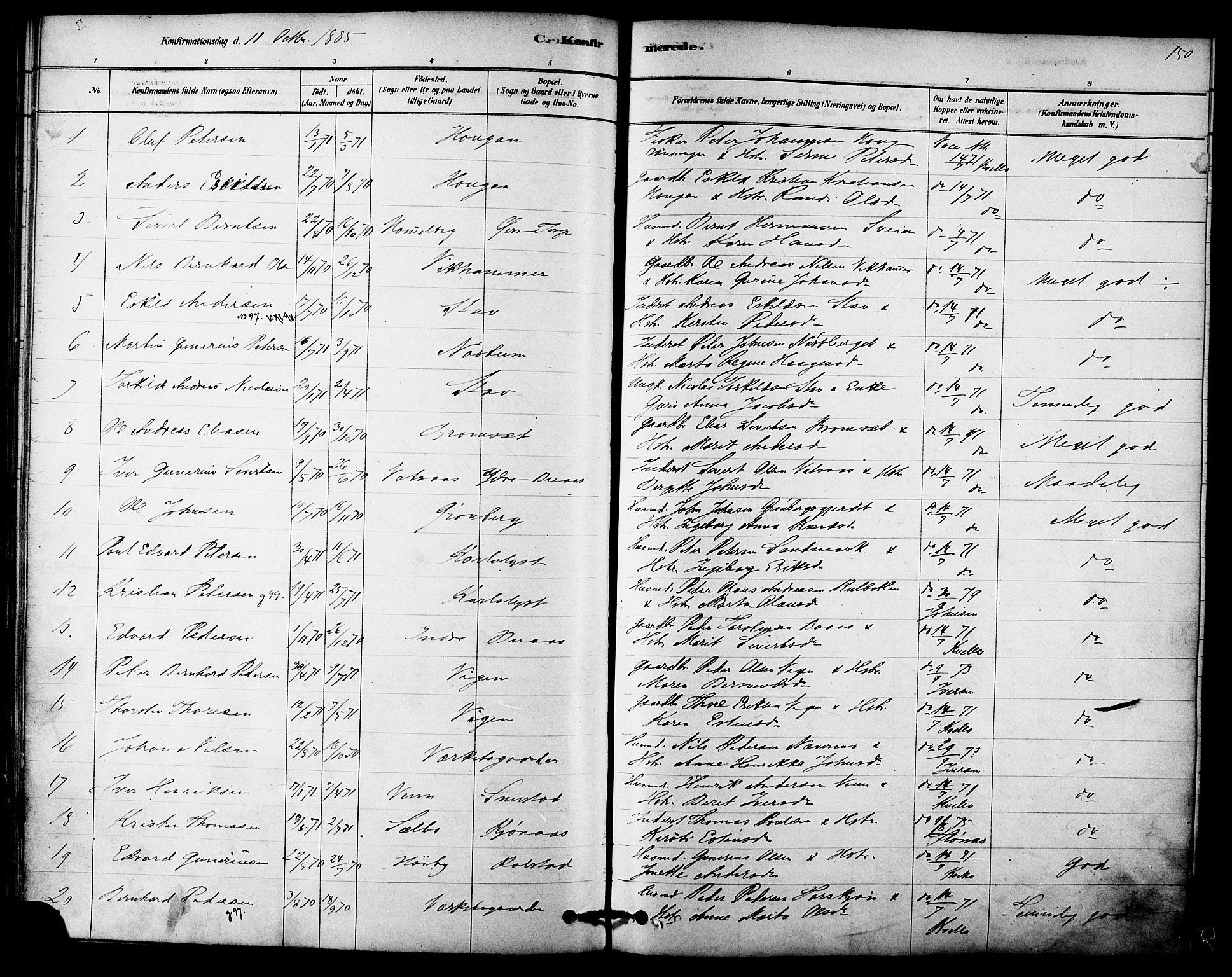 SAT, Ministerialprotokoller, klokkerbøker og fødselsregistre - Sør-Trøndelag, 616/L0410: Ministerialbok nr. 616A07, 1878-1893, s. 150