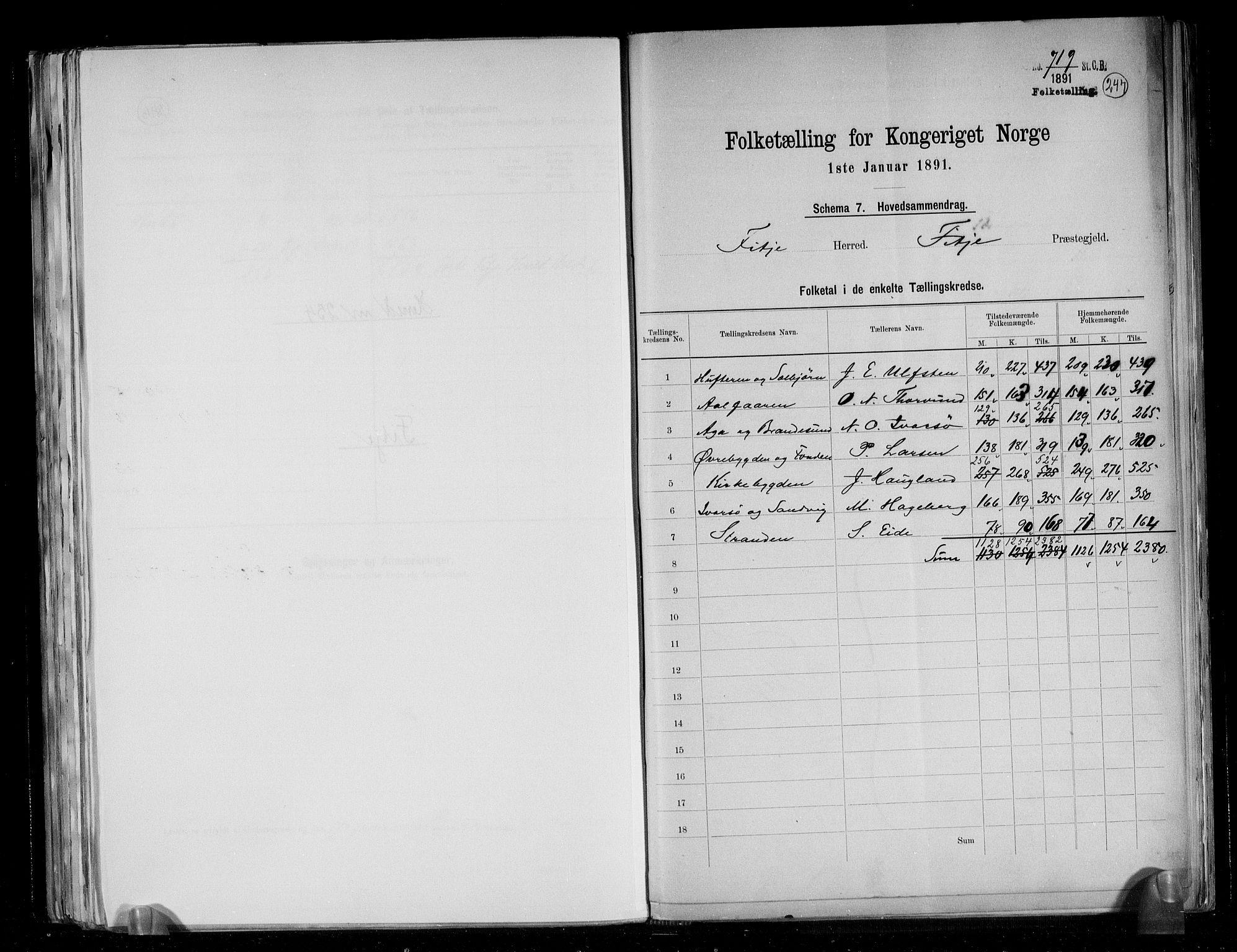 RA, Folketelling 1891 for 1222 Fitjar herred, 1891, s. 2