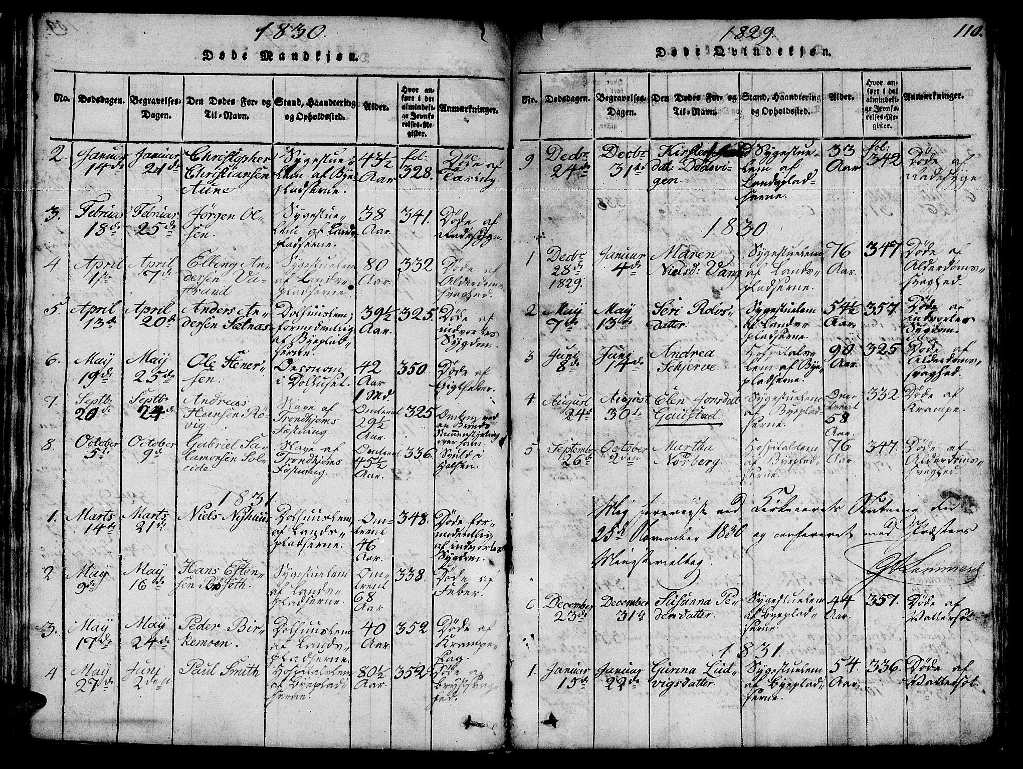 SAT, Ministerialprotokoller, klokkerbøker og fødselsregistre - Sør-Trøndelag, 623/L0478: Klokkerbok nr. 623C01, 1815-1873, s. 110
