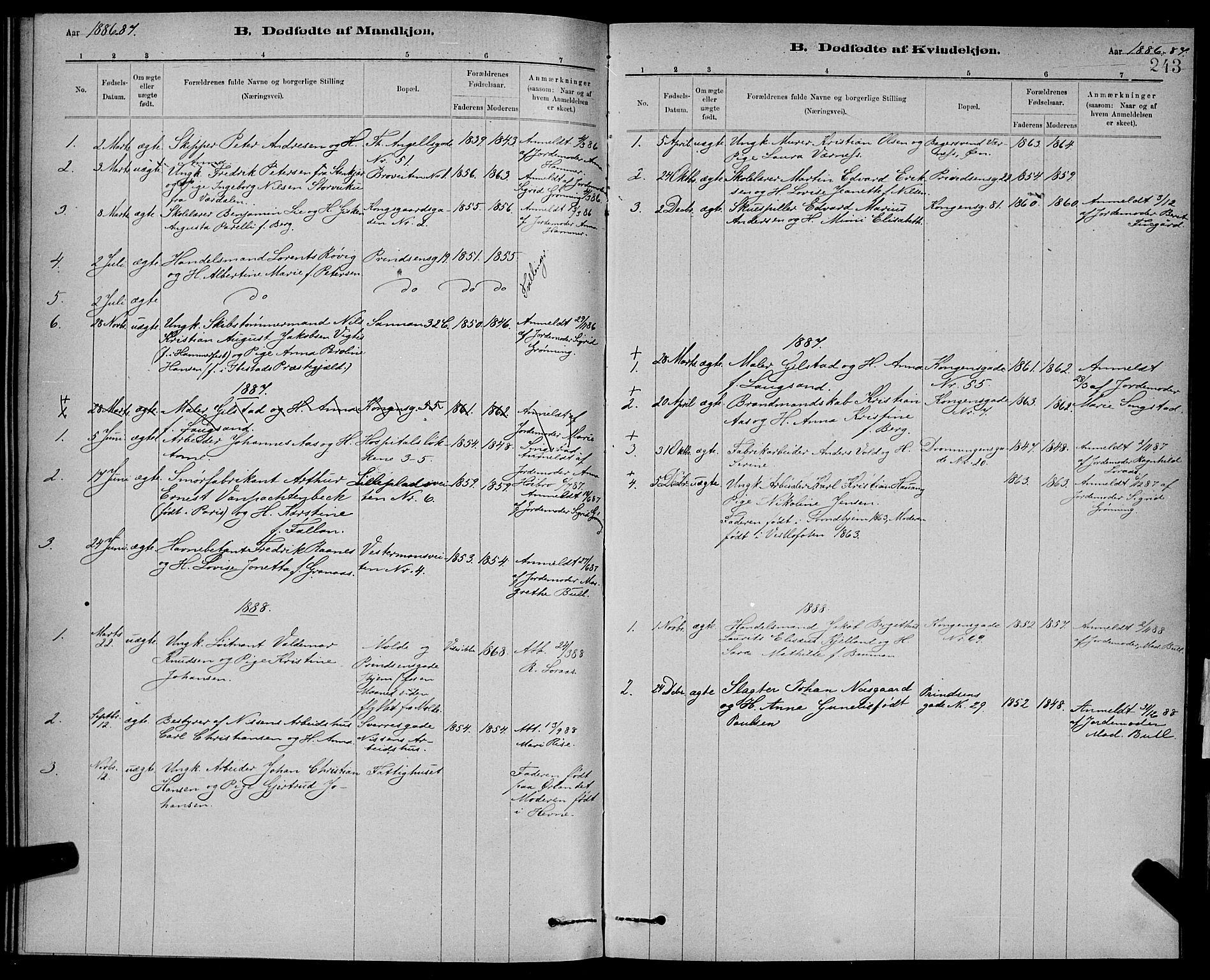 SAT, Ministerialprotokoller, klokkerbøker og fødselsregistre - Sør-Trøndelag, 601/L0092: Klokkerbok nr. 601C10, 1884-1897, s. 243