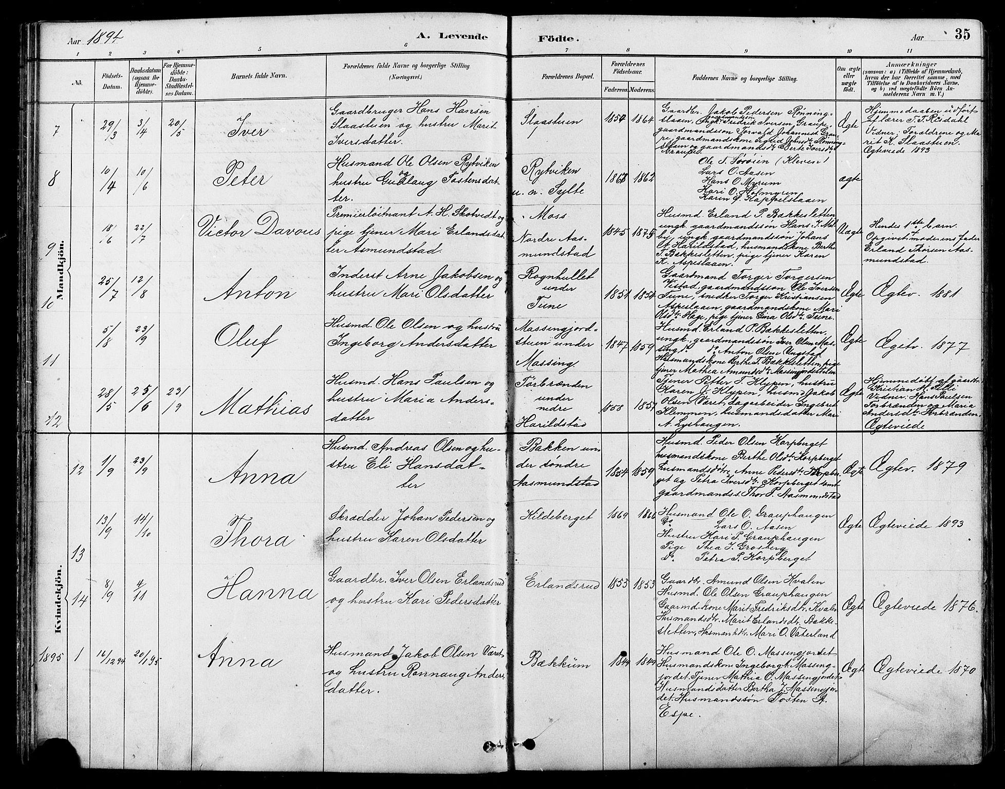 SAH, Nord-Fron prestekontor, Klokkerbok nr. 5, 1884-1914, s. 35