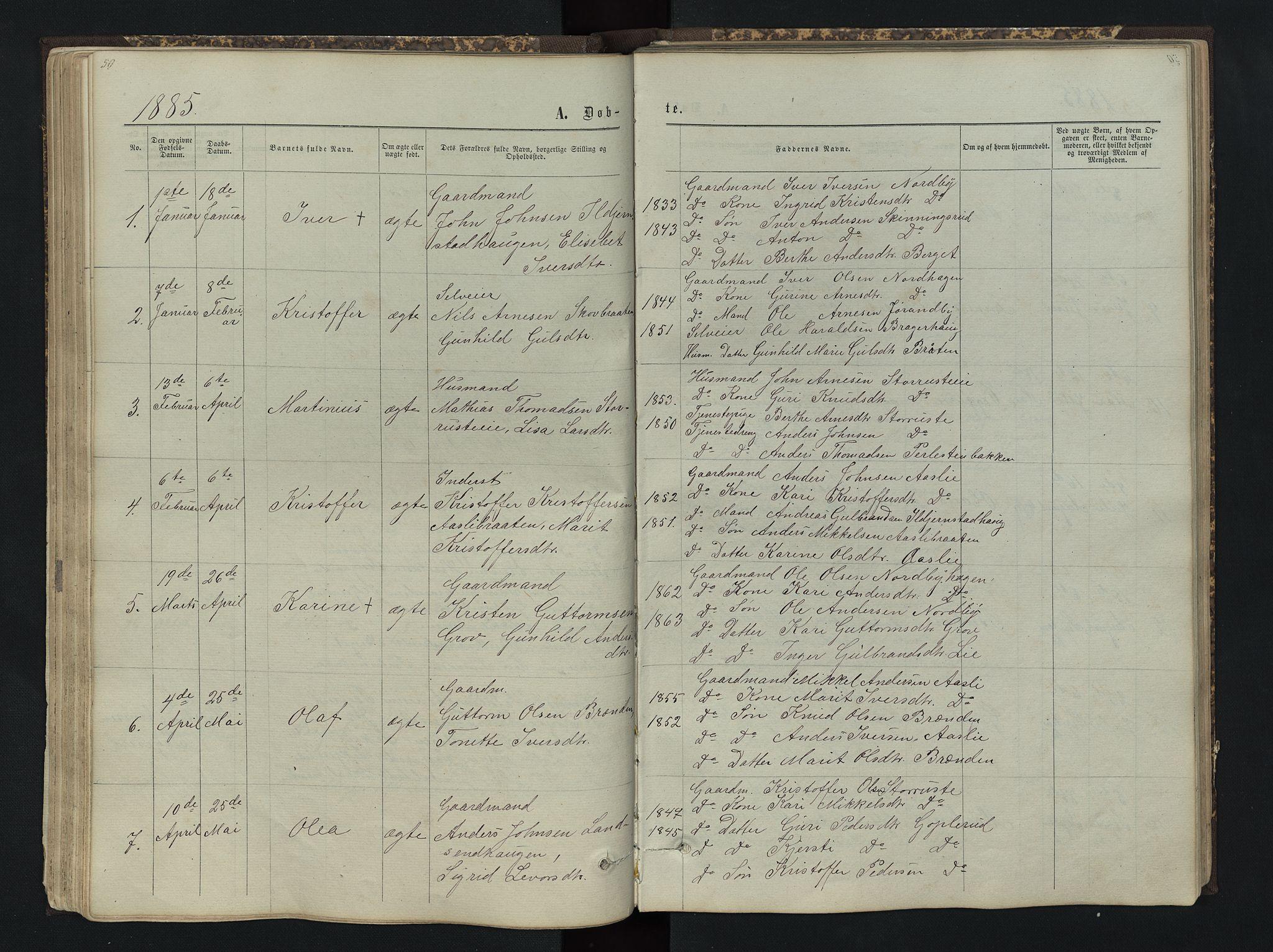 SAH, Sør-Aurdal prestekontor, Klokkerbok nr. 4, 1865-1893, s. 50
