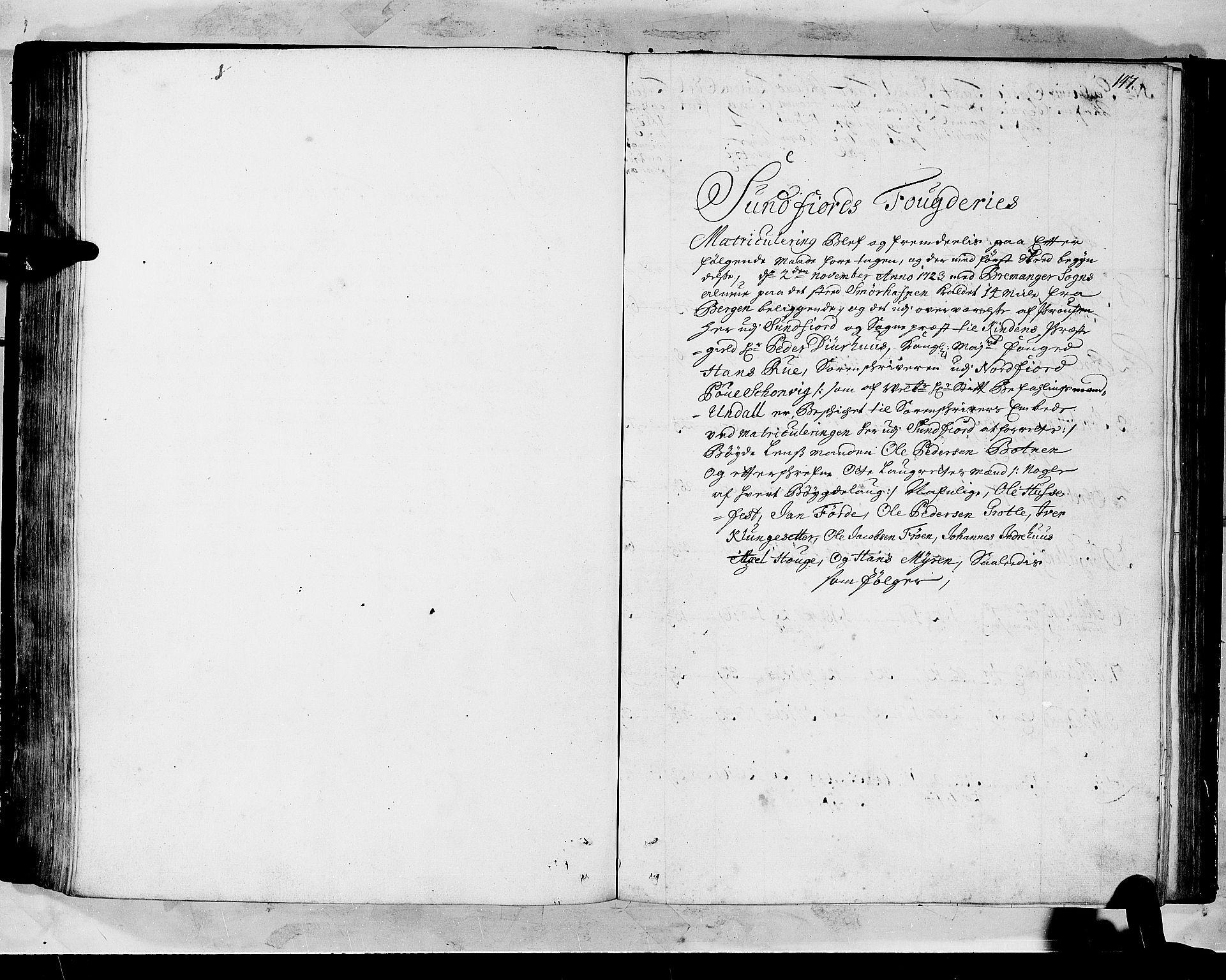 RA, Rentekammeret inntil 1814, Realistisk ordnet avdeling, N/Nb/Nbf/L0147: Sunnfjord og Nordfjord matrikkelprotokoll, 1723, s. 146b-147a