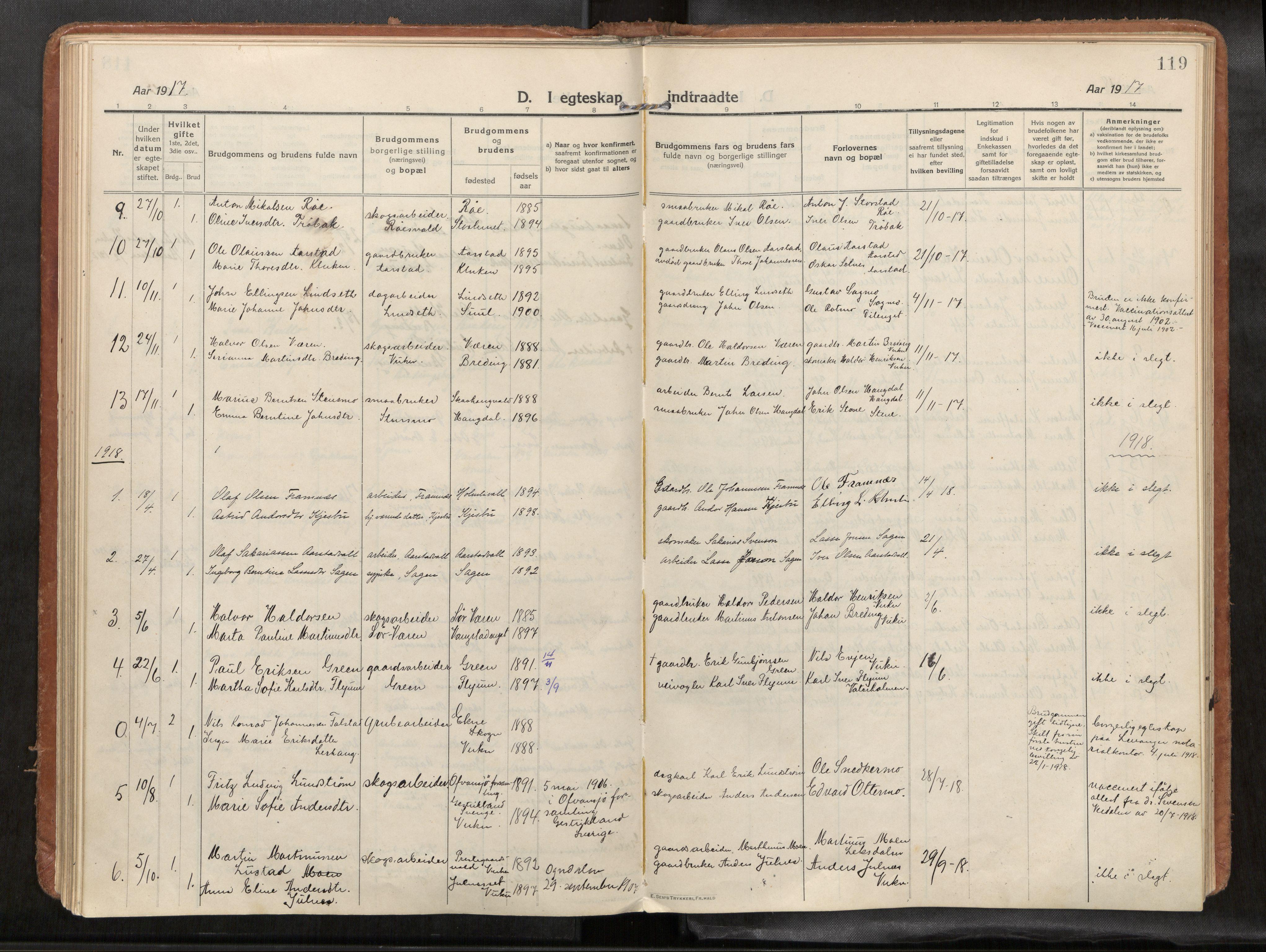 SAT, Verdal sokneprestkontor, H/Haa/L0004: Ministerialbok nr. 4, 1916-1928, s. 119