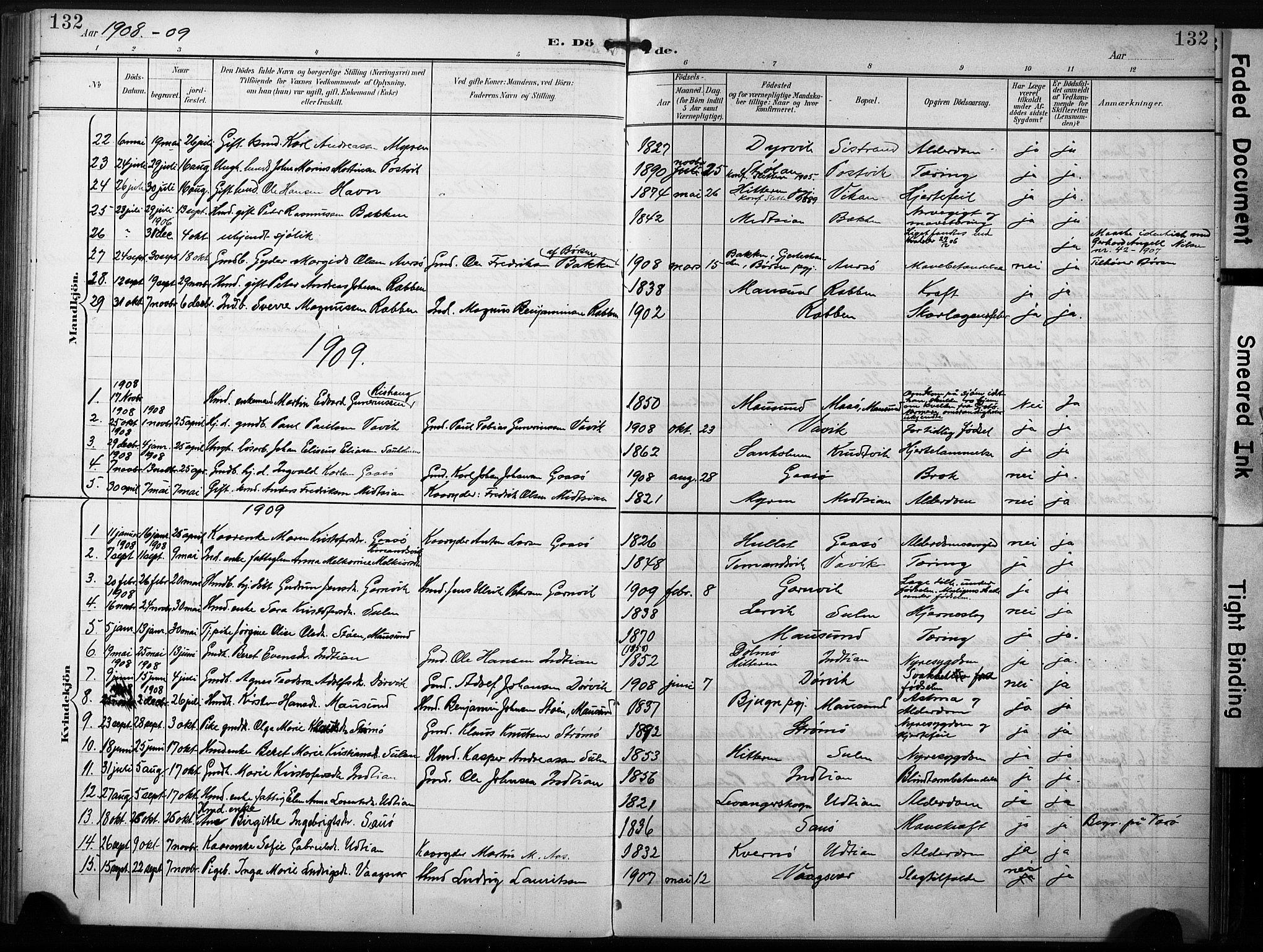 SAT, Ministerialprotokoller, klokkerbøker og fødselsregistre - Sør-Trøndelag, 640/L0580: Ministerialbok nr. 640A05, 1902-1910, s. 132