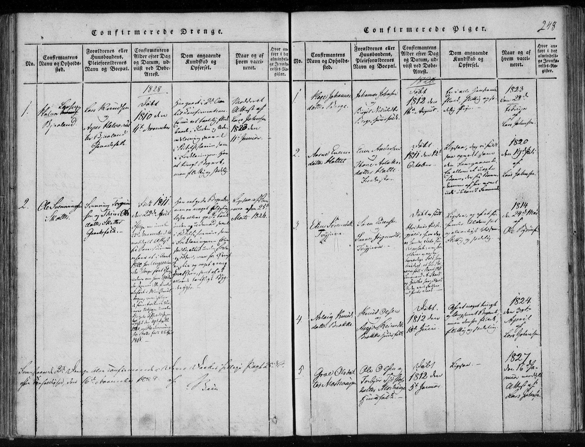 SAKO, Lårdal kirkebøker, F/Fa/L0005: Ministerialbok nr. I 5, 1815-1860, s. 248