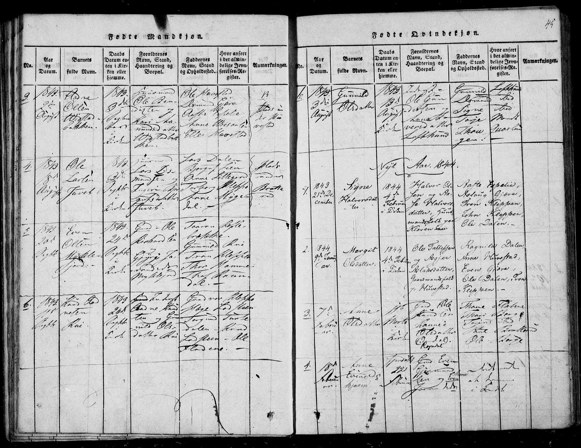 SAKO, Lårdal kirkebøker, F/Fb/L0001: Ministerialbok nr. II 1, 1815-1860, s. 45