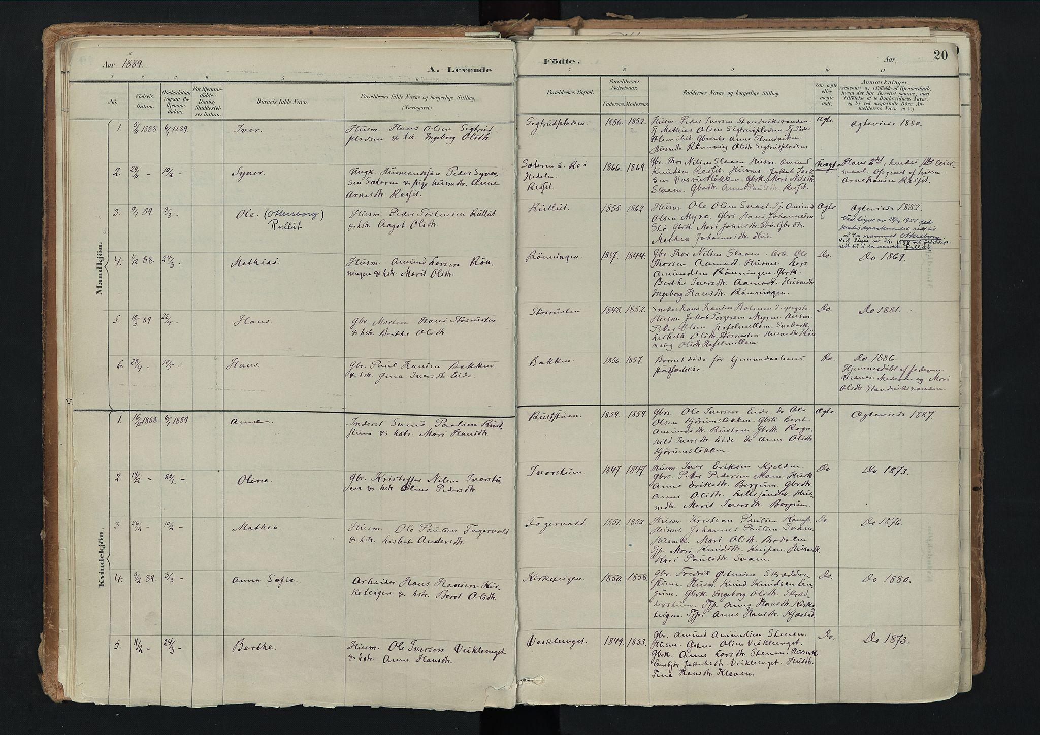 SAH, Nord-Fron prestekontor, Ministerialbok nr. 3, 1884-1914, s. 20