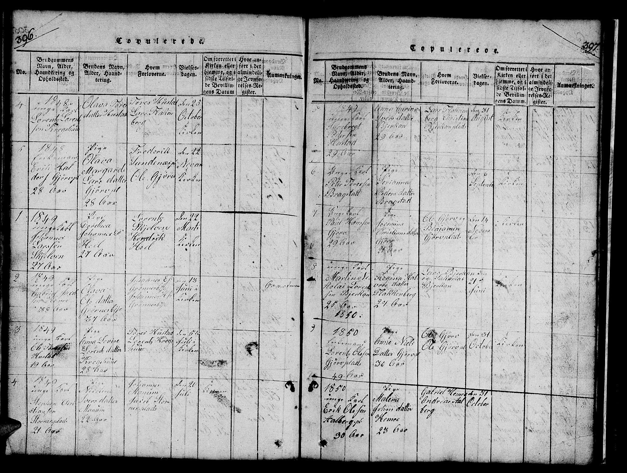 SAT, Ministerialprotokoller, klokkerbøker og fødselsregistre - Nord-Trøndelag, 732/L0317: Klokkerbok nr. 732C01, 1816-1881, s. 396-397