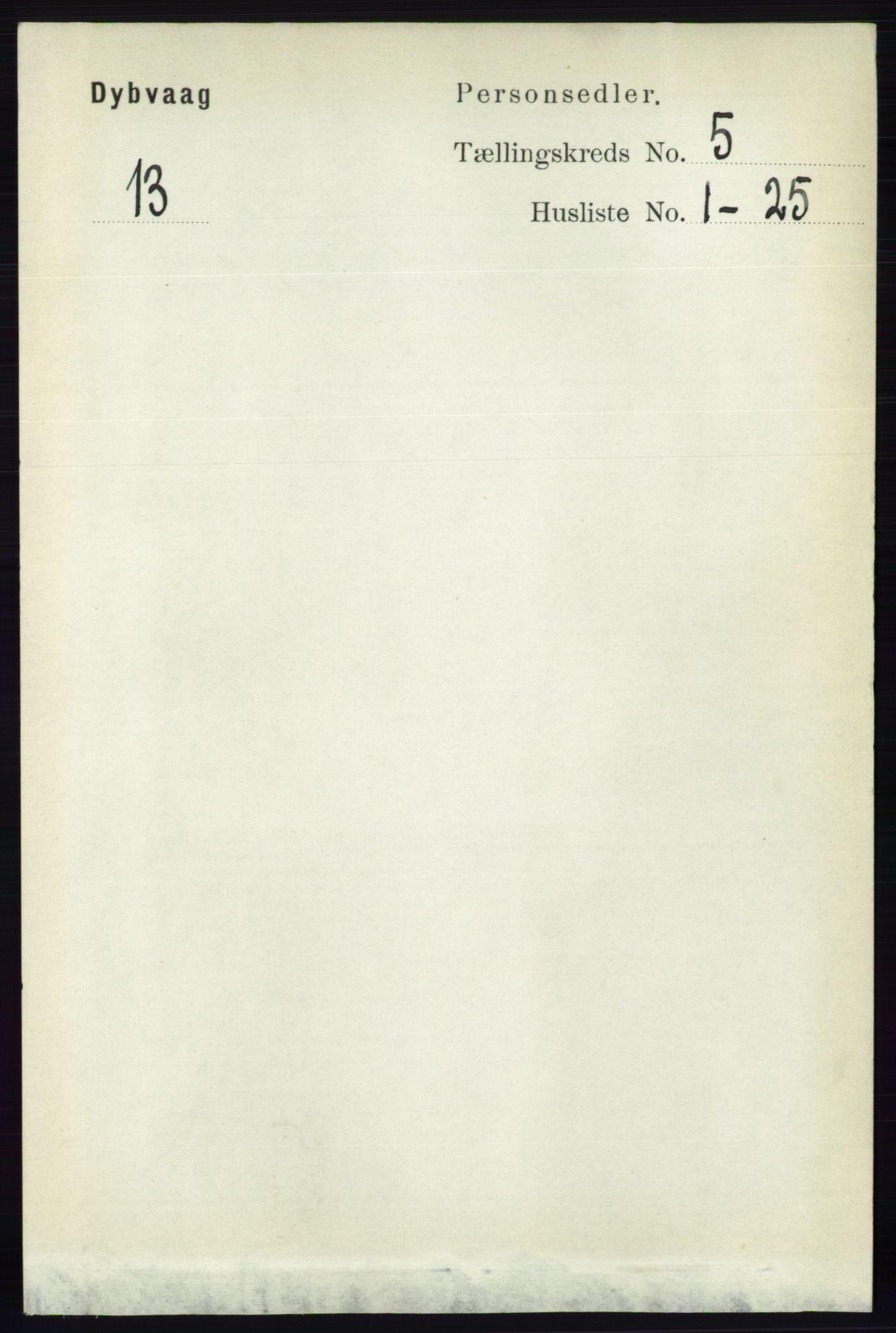 RA, Folketelling 1891 for 0915 Dypvåg herred, 1891, s. 1365