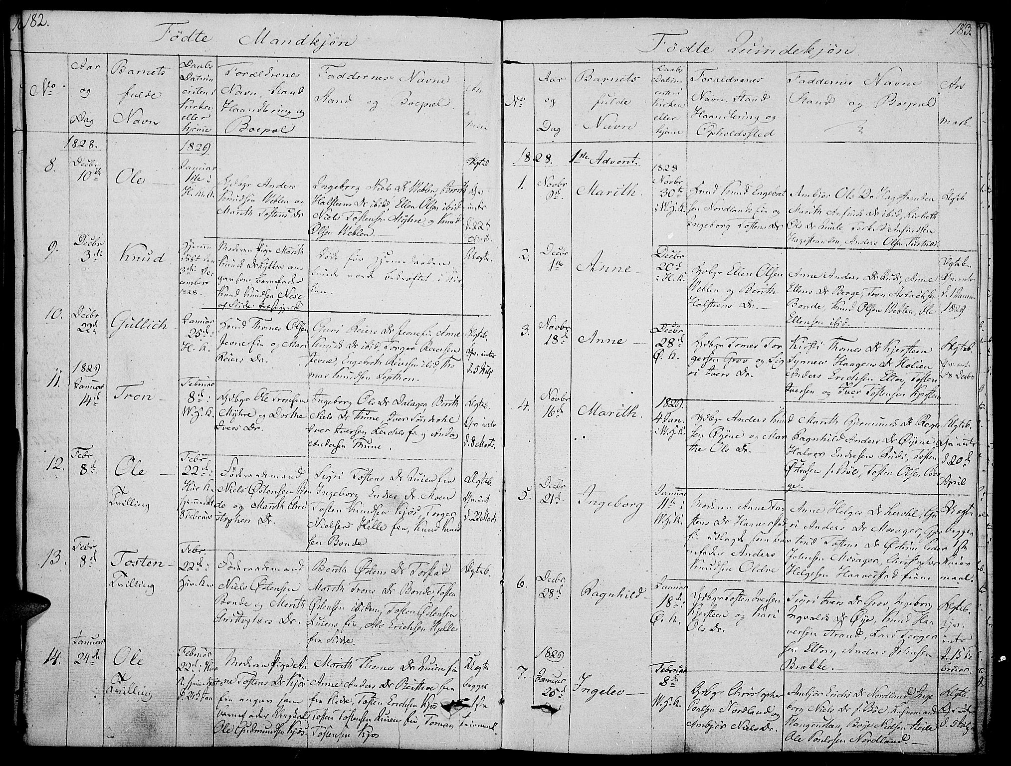 SAH, Vang prestekontor, Valdres, Ministerialbok nr. 3, 1809-1831, s. 182-183