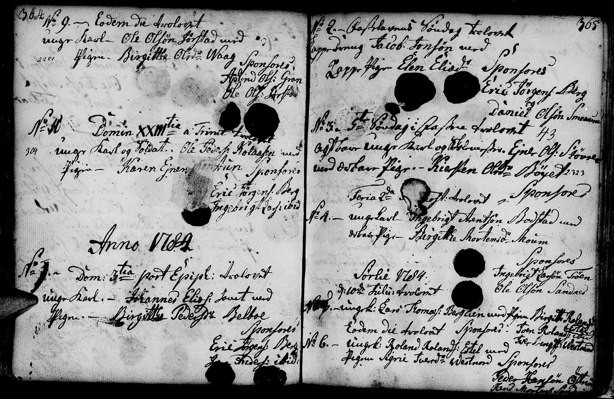 SAT, Ministerialprotokoller, klokkerbøker og fødselsregistre - Nord-Trøndelag, 749/L0467: Ministerialbok nr. 749A01, 1733-1787, s. 364-365